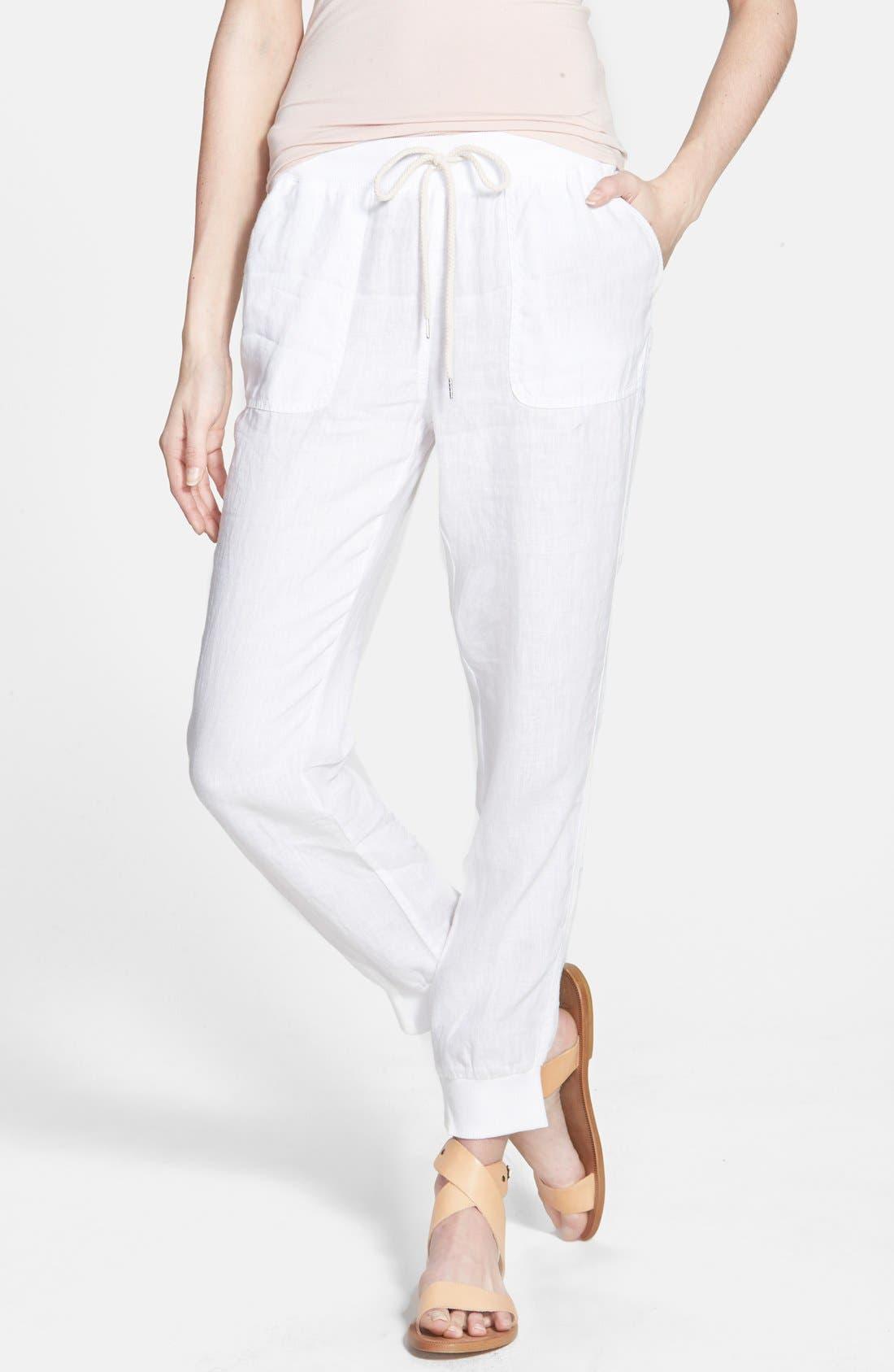 Linen Track Pants,                         Main,                         color, White
