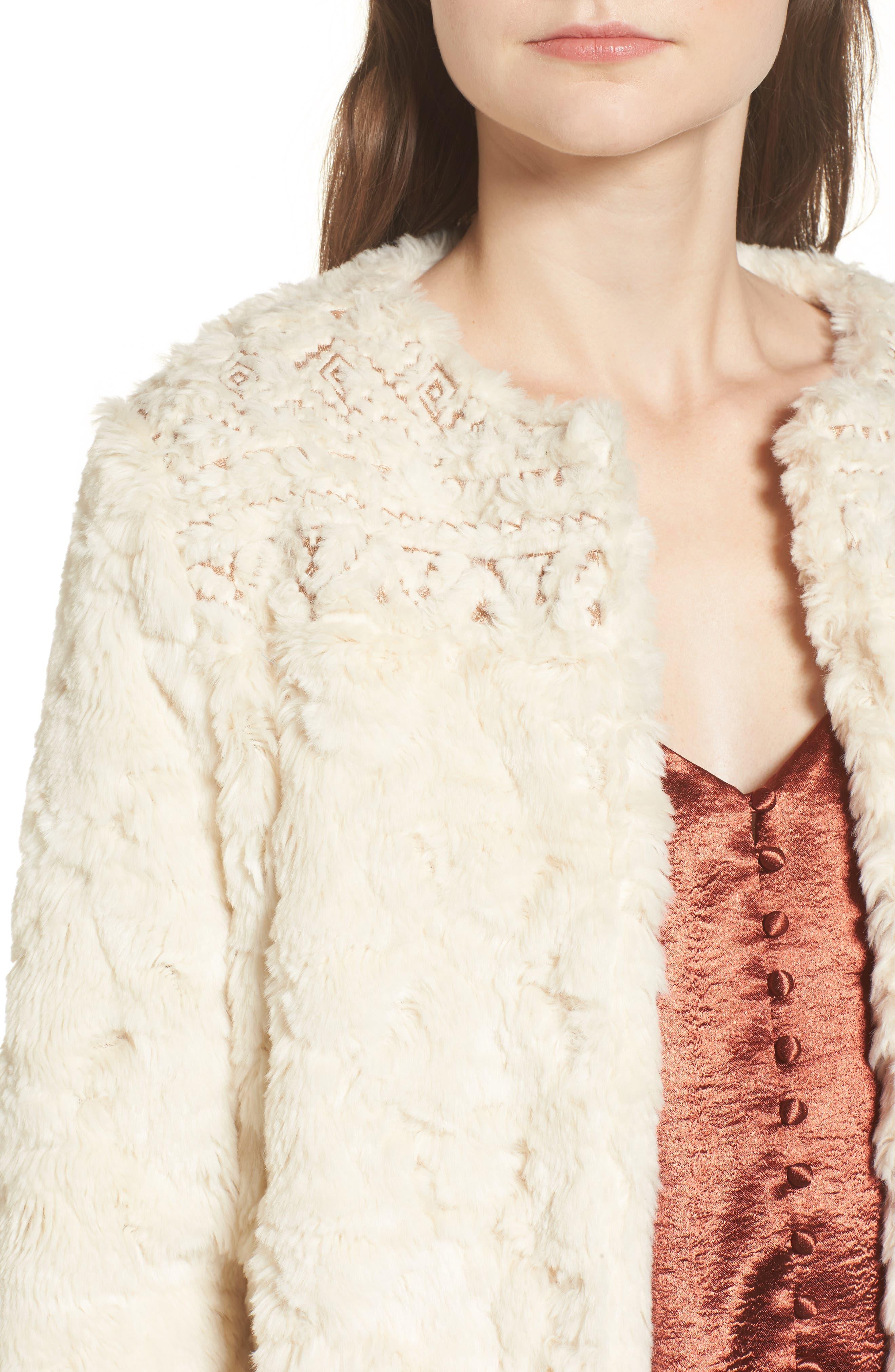 Metallic Embroidery Faux Fur Jacket,                             Alternate thumbnail 4, color,                             Ivory