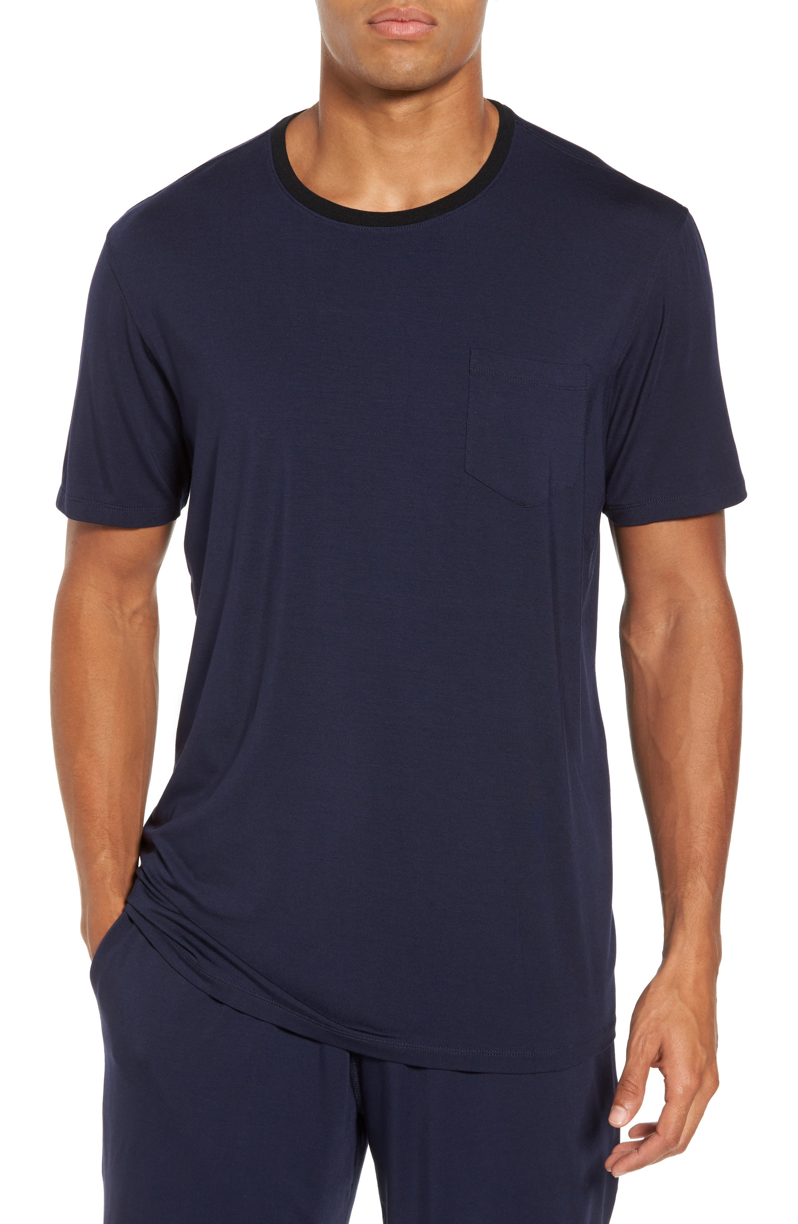 Modal & Silk Pocket T-Shirt,                         Main,                         color, Ink