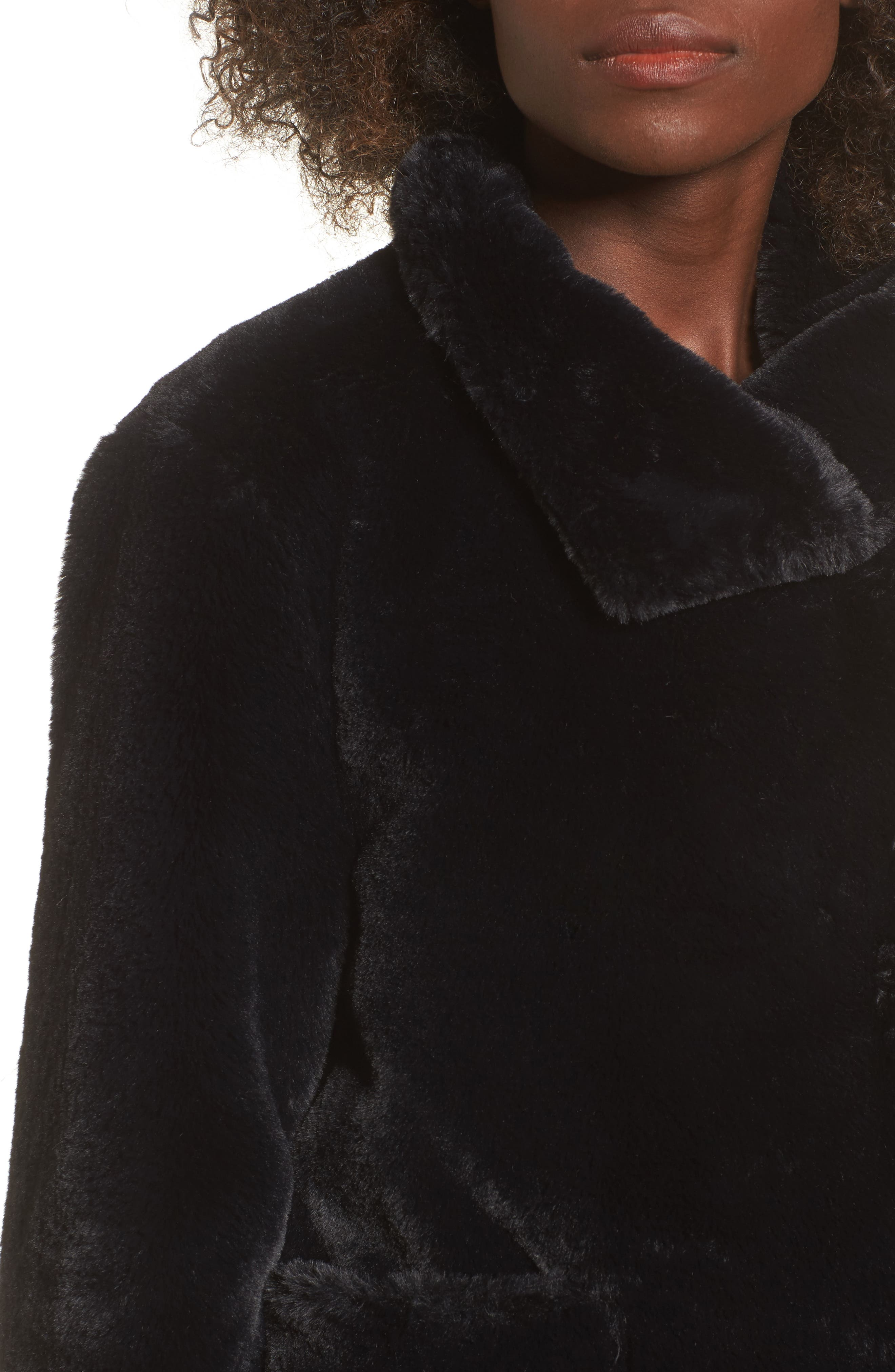 Fur-Fect Faux Fur Jacket,                             Alternate thumbnail 4, color,                             Black