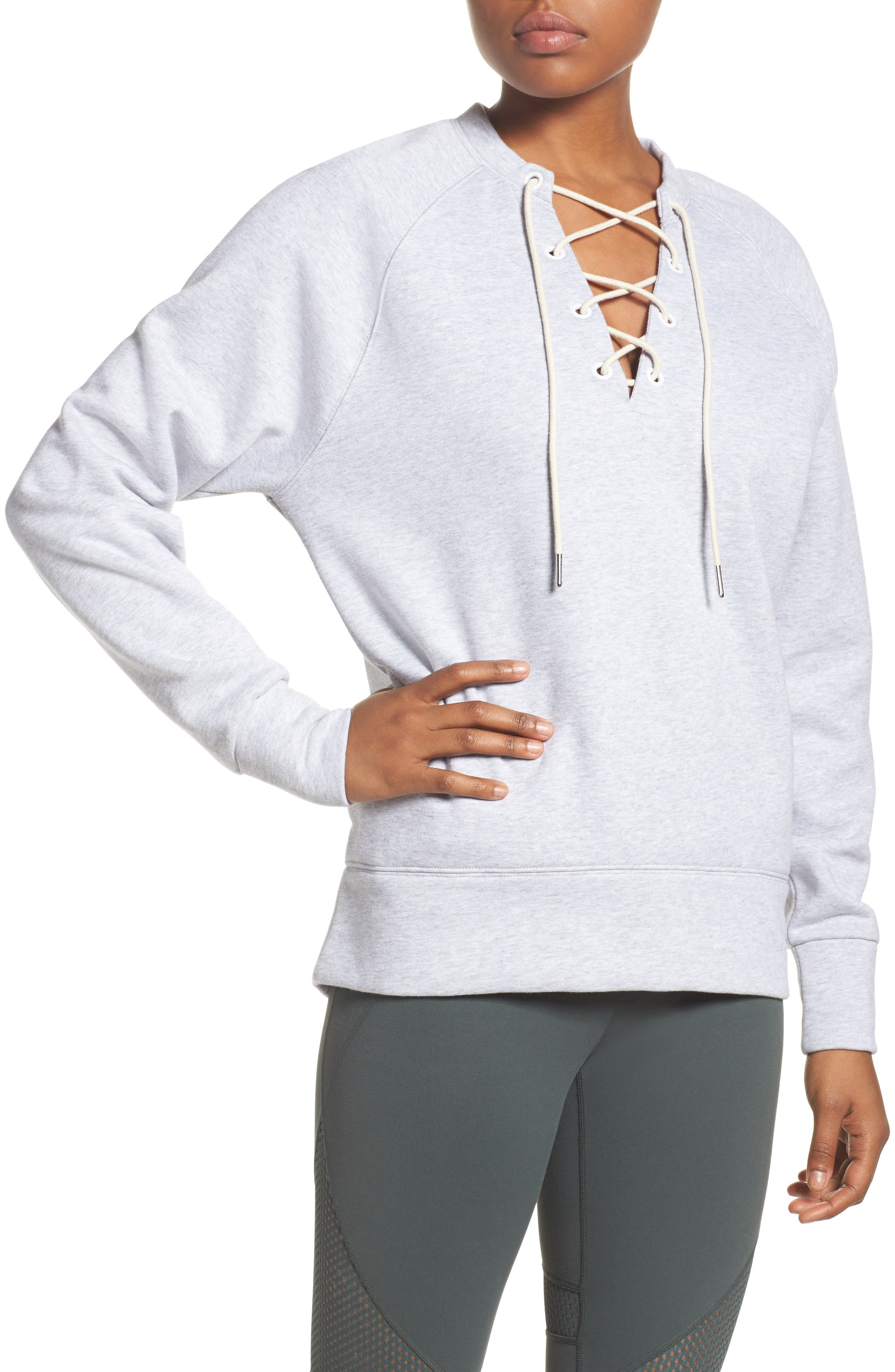 Lace-Up Pullover,                         Main,                         color, Grey Ash Heather