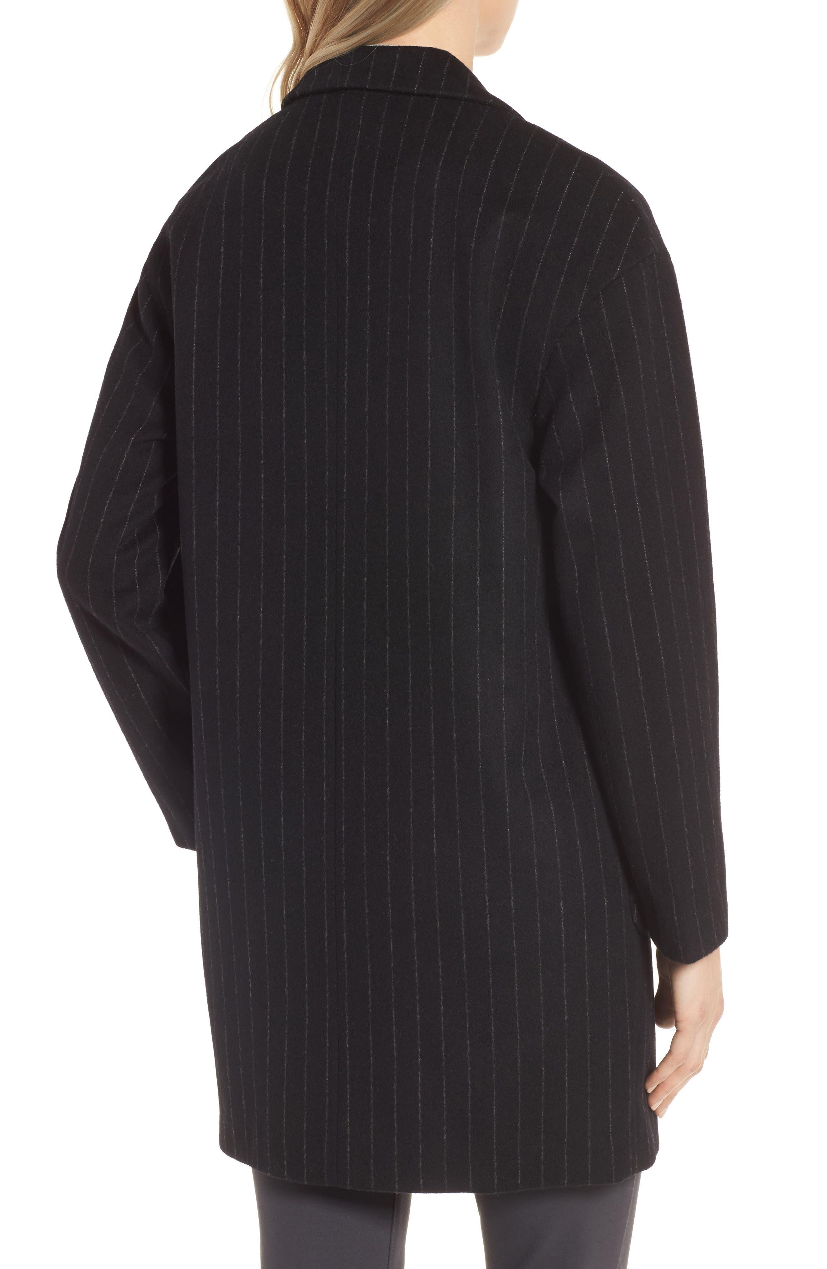 DKNY Pinstripe Wool Blend Coat,                             Alternate thumbnail 2, color,                             Black