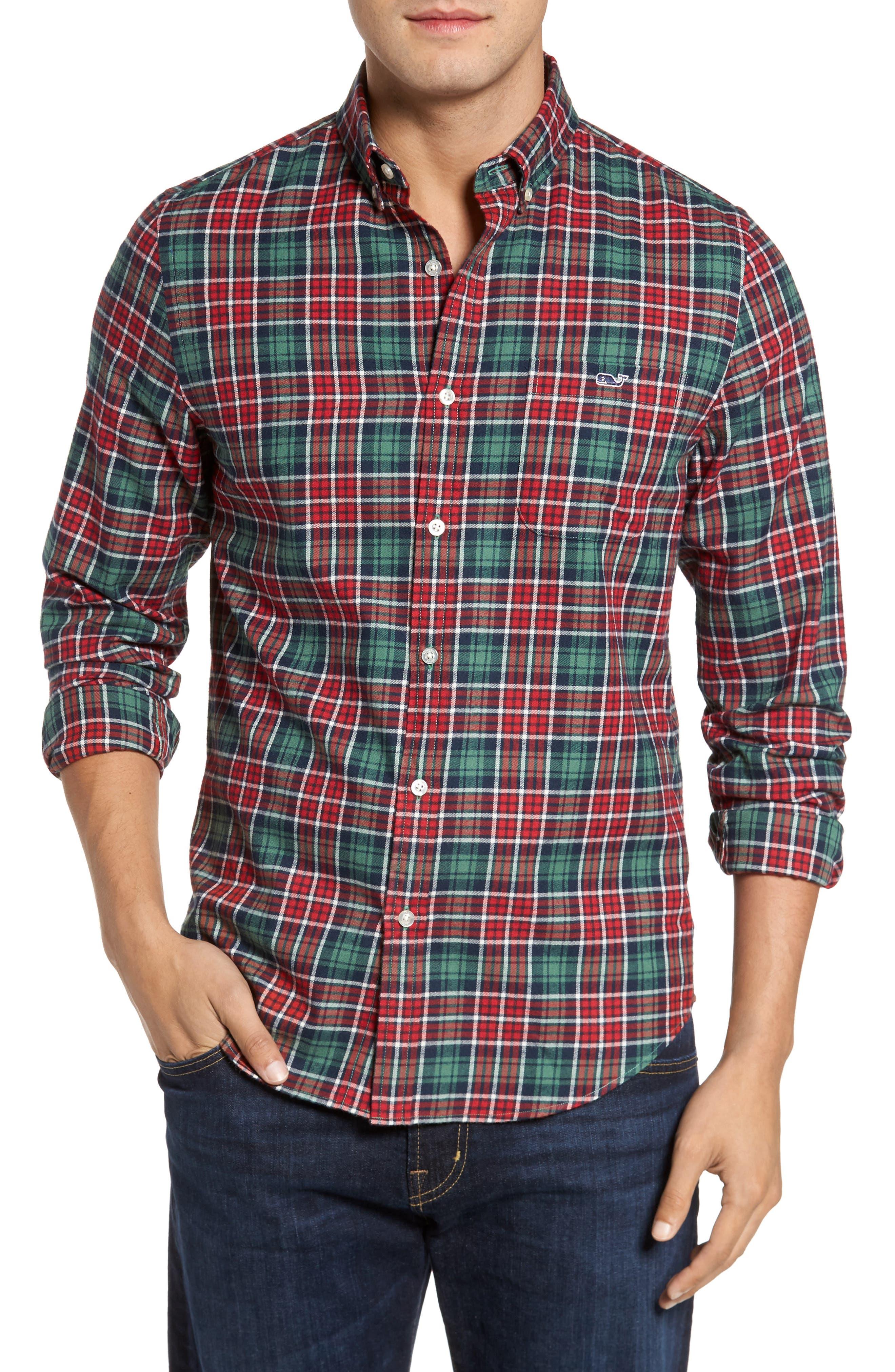 Tucker Bold Point Slim Fit Plaid Sport Shirt,                             Main thumbnail 1, color,                             Charleston Green