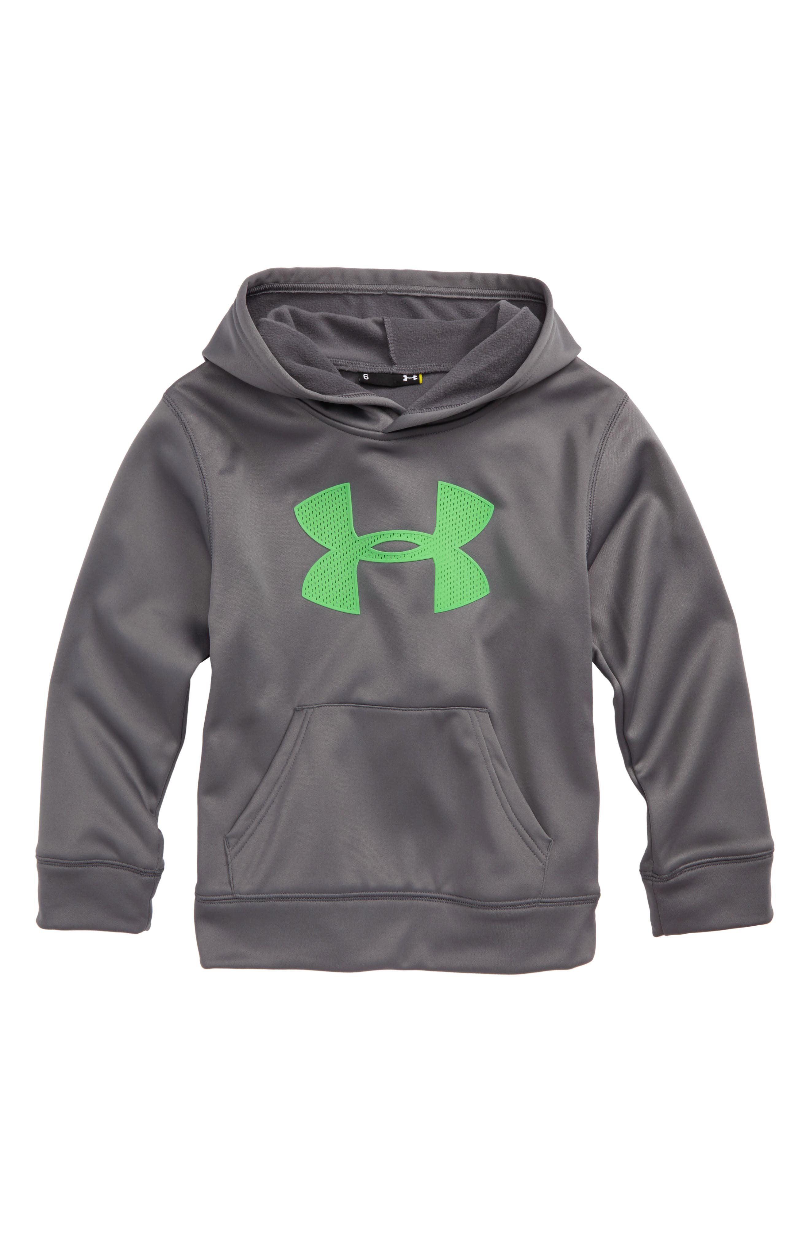 Alternate Image 1 Selected - Under Armour Mesh Big Logo Pullover Hoodie (Little Boys)