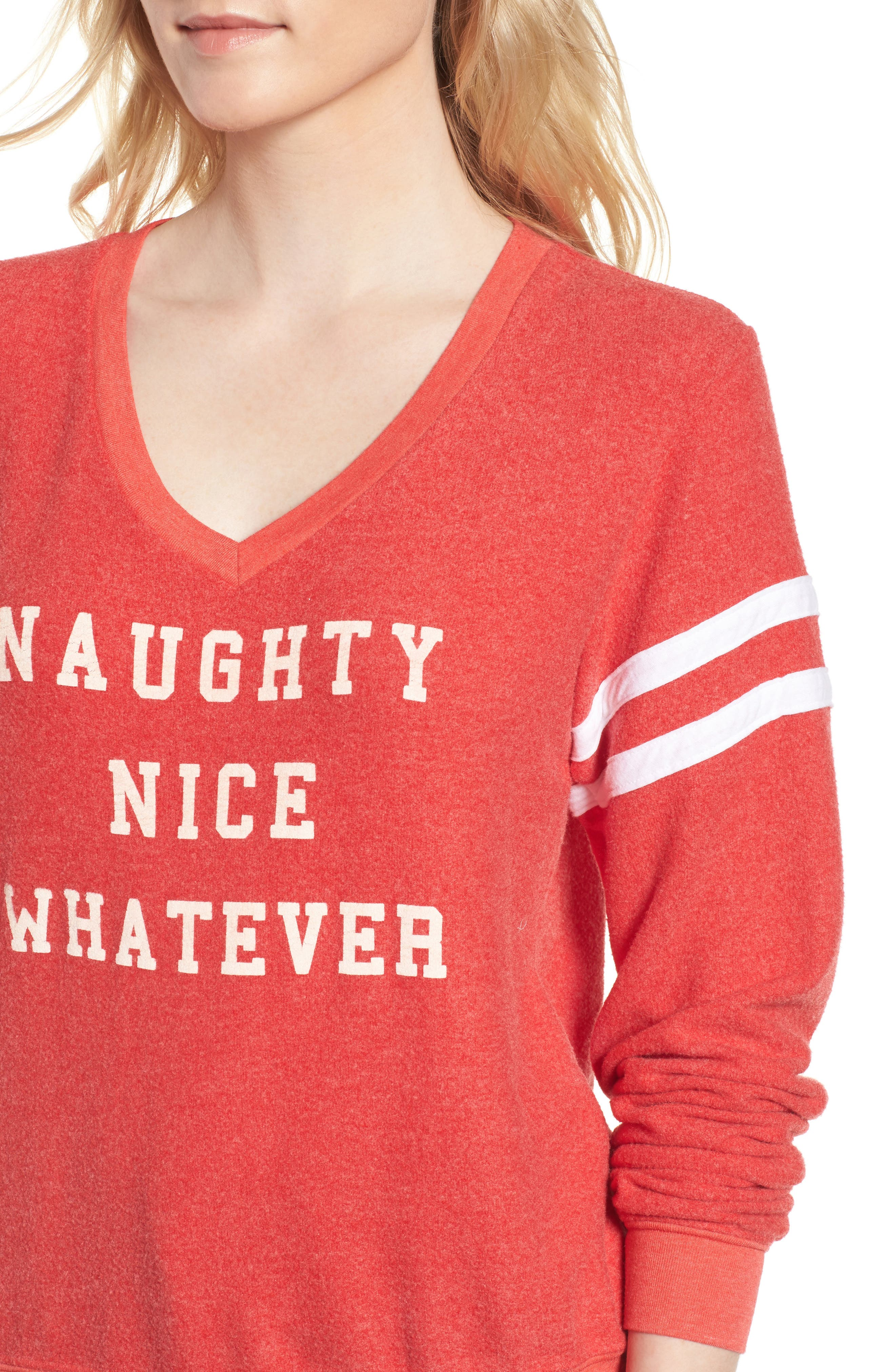Naughty Nice Whatever Sweatshirt,                             Alternate thumbnail 5, color,                             Red Line