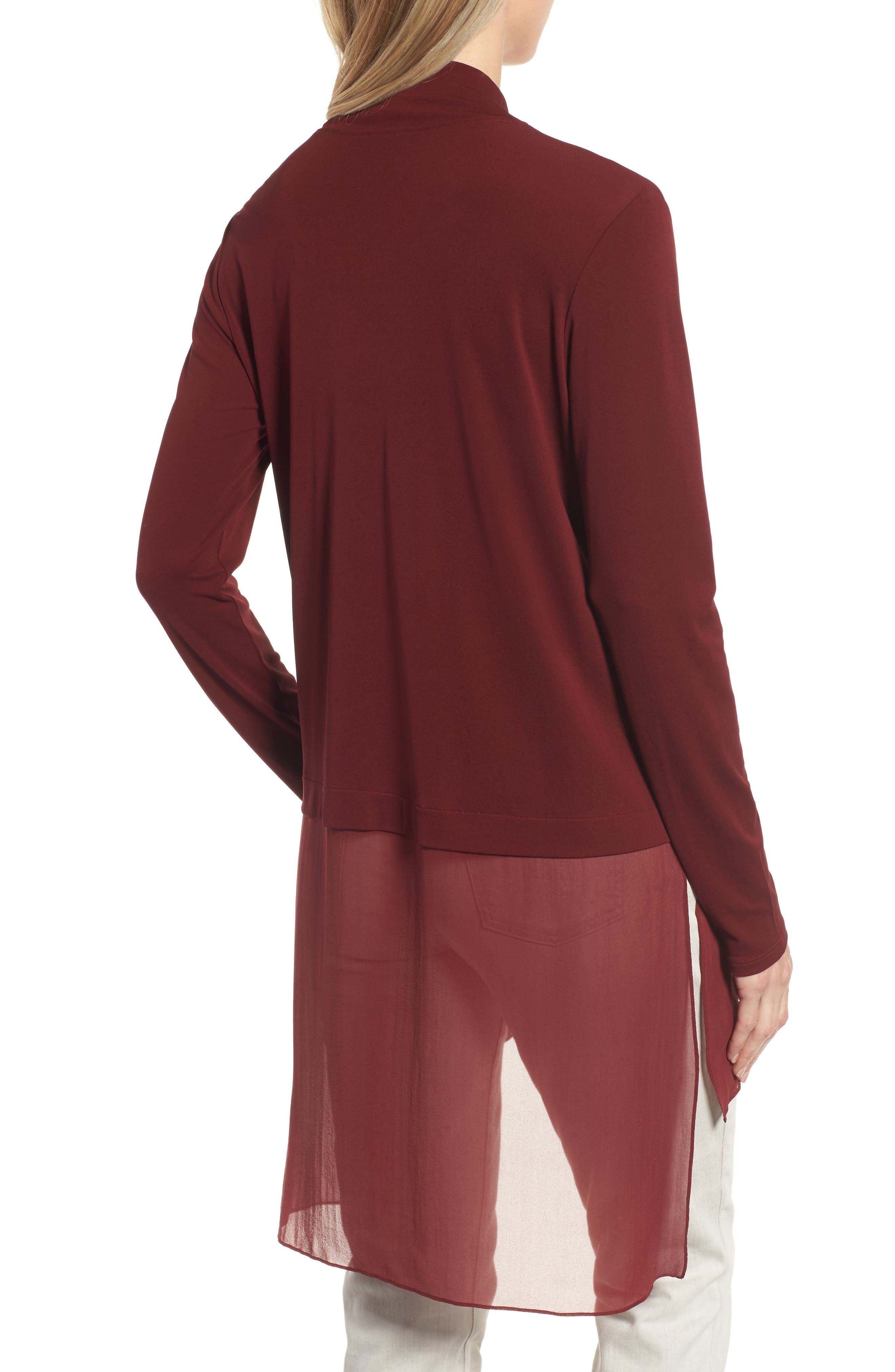 Sheer Hem Silk Tunic,                             Alternate thumbnail 2, color,                             Claret