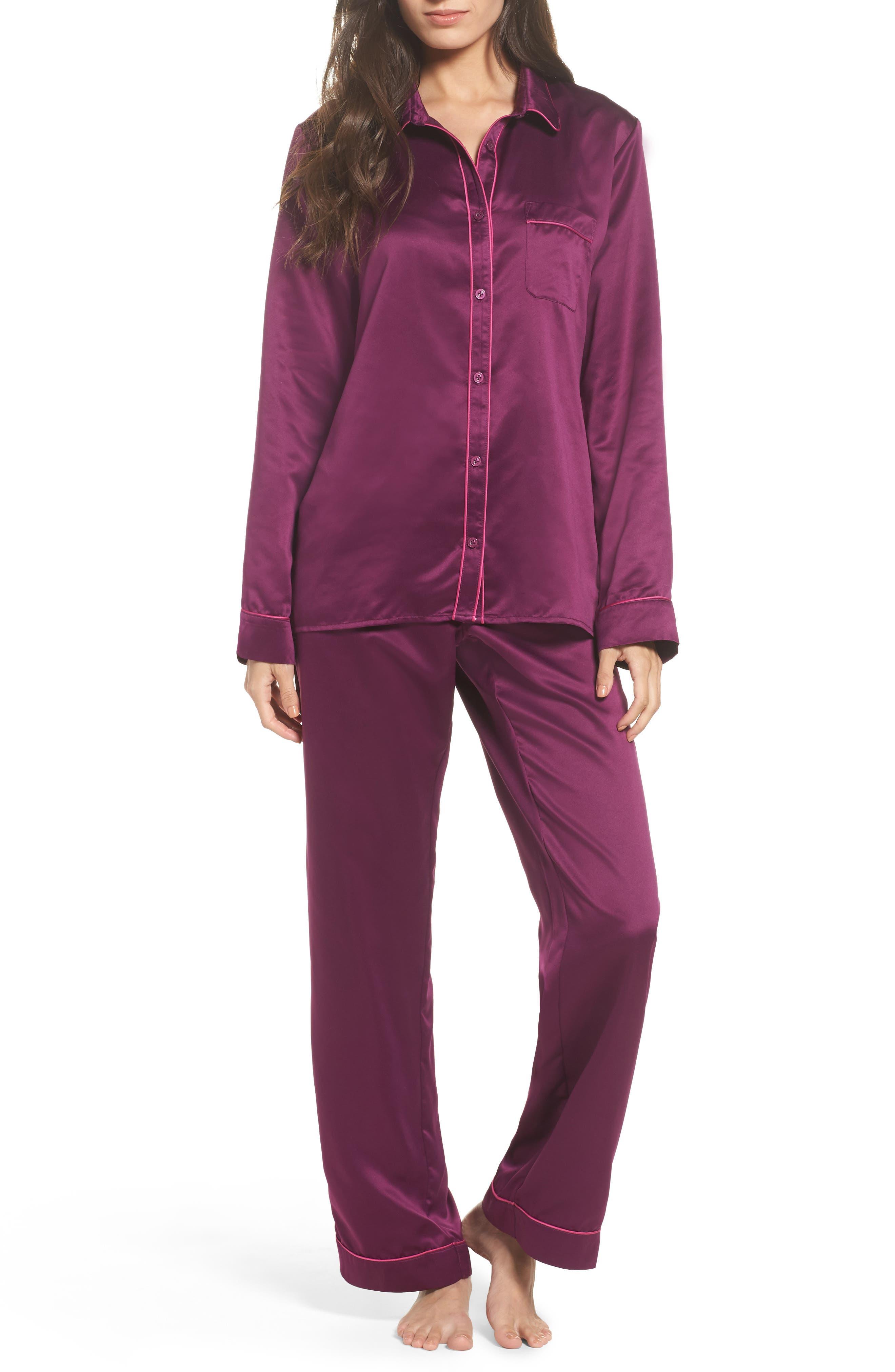 Satin Pajamas,                             Main thumbnail 1, color,                             Purple Dark