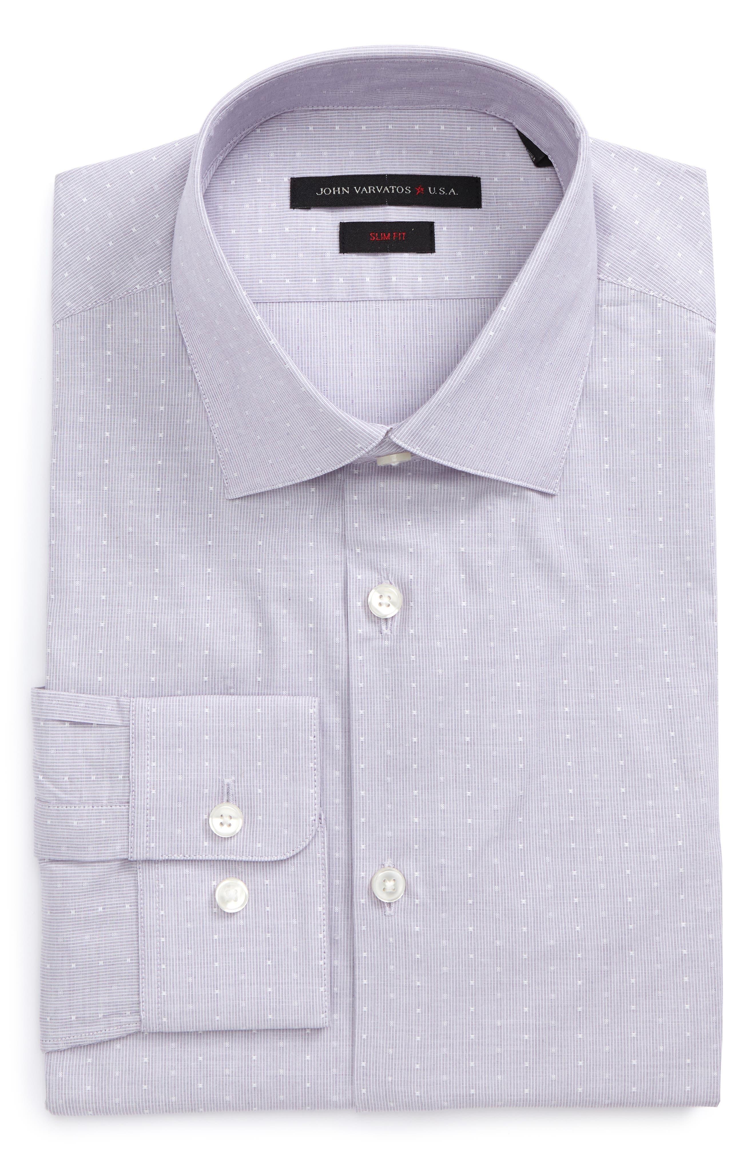 Slim Fit Stripe Dot Dress Shirt,                         Main,                         color, Thistle