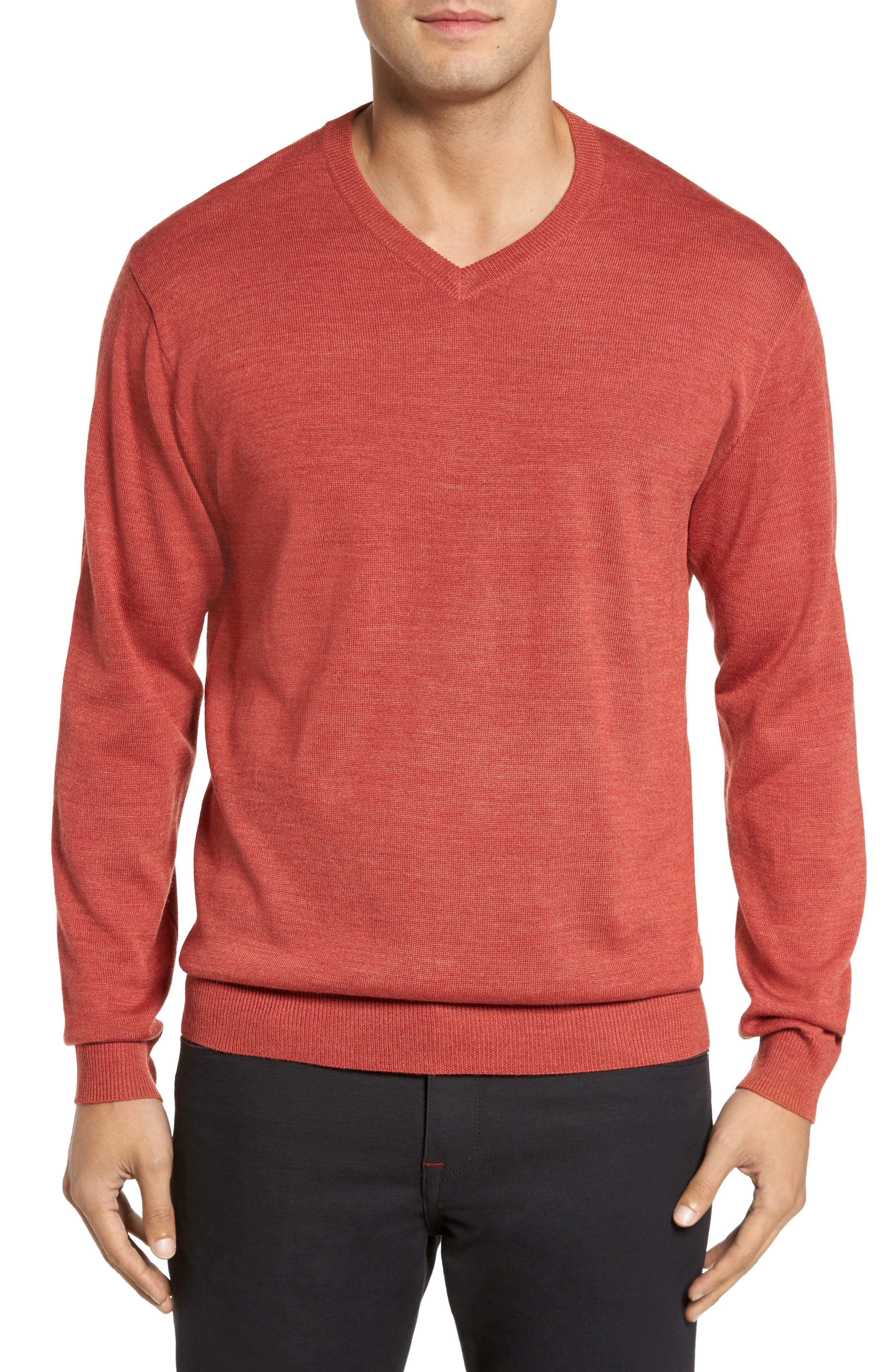 Main Image - Cutter & Buck 'Douglas' Merino Wool Blend V-Neck Sweater (Online Only)