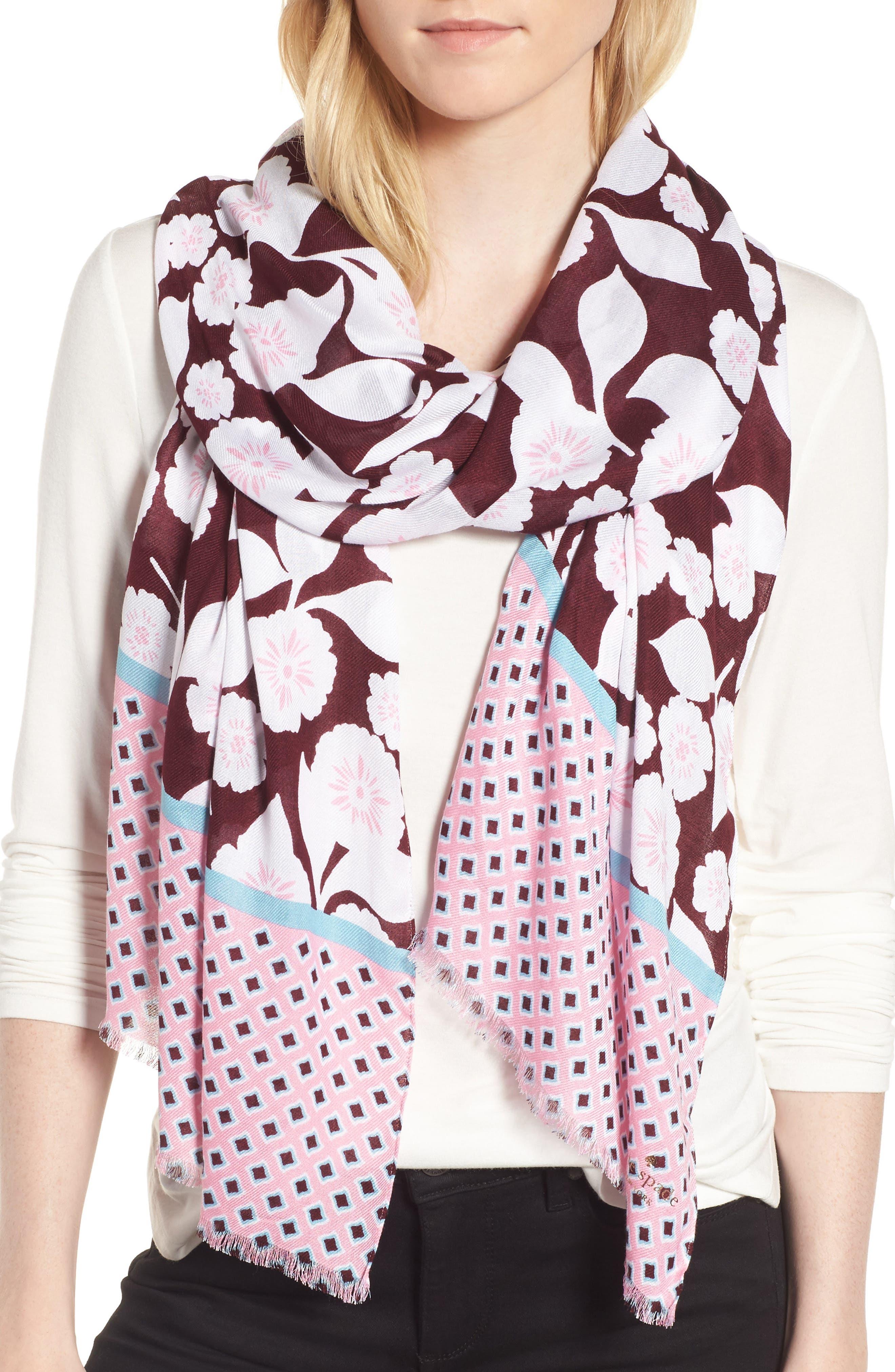 swinging floral scarf,                             Main thumbnail 1, color,                             Parisian Pink