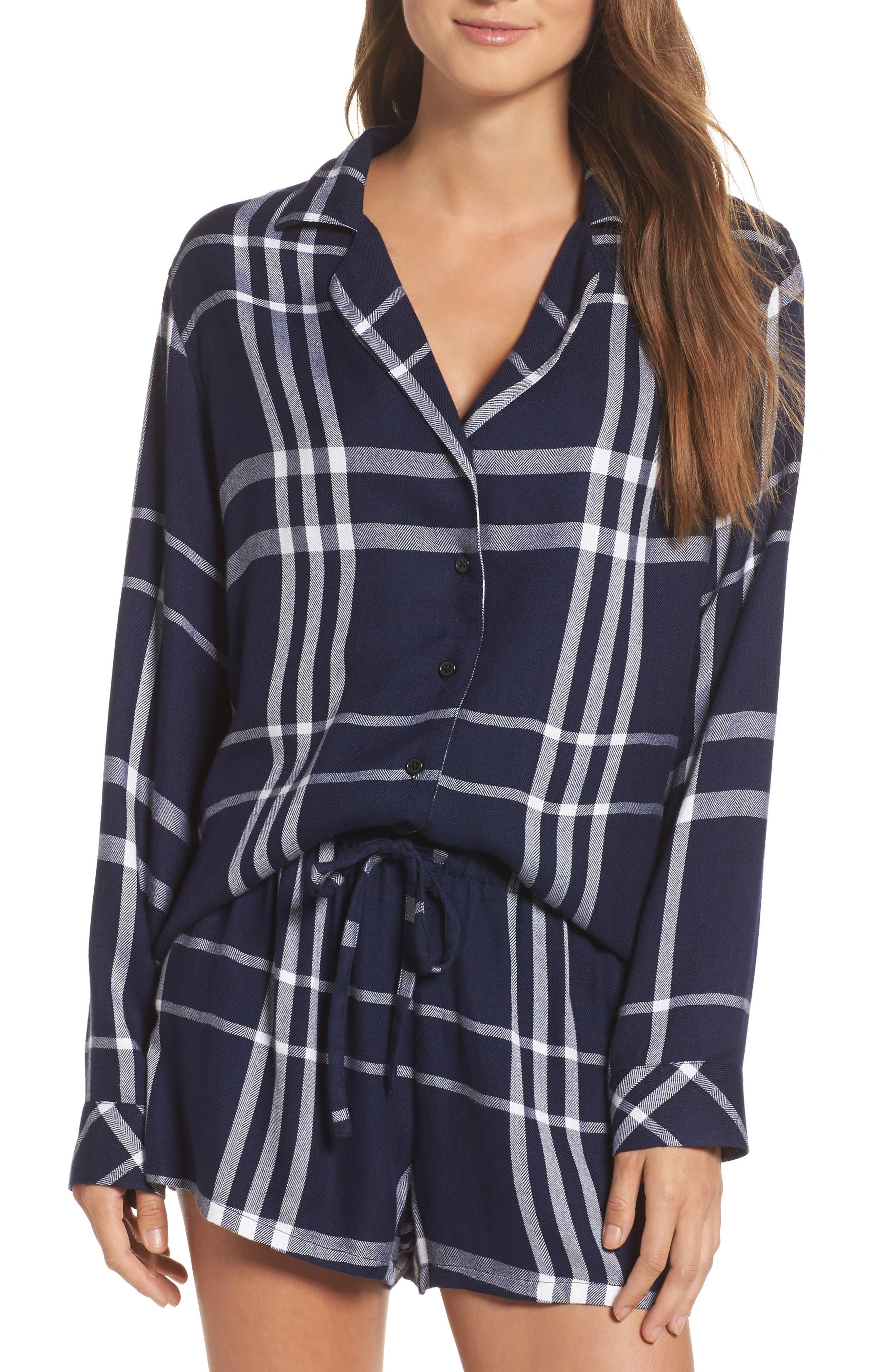 Plaid Short Pajamas,                         Main,                         color, Cadet/ White