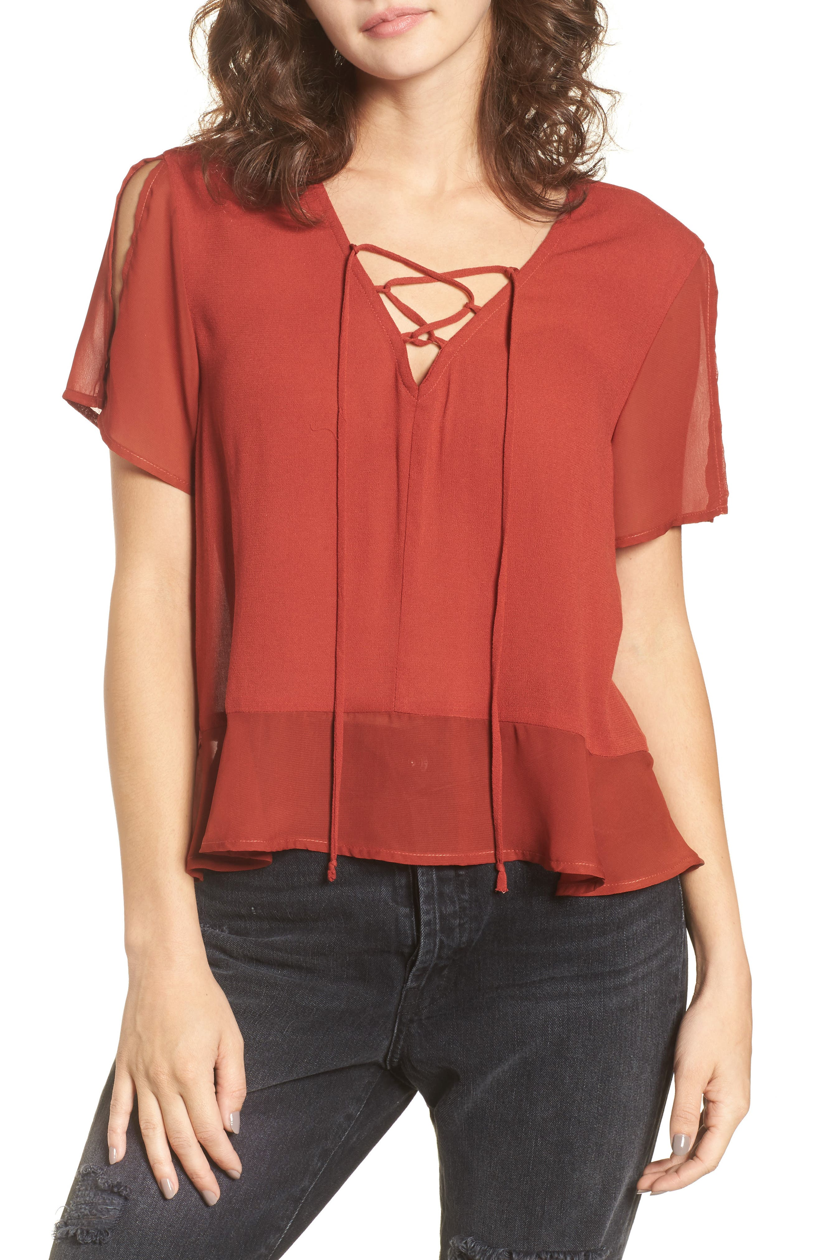 Alternate Image 1 Selected - Mimi Chica Lace-Up Mini Peplum Tee