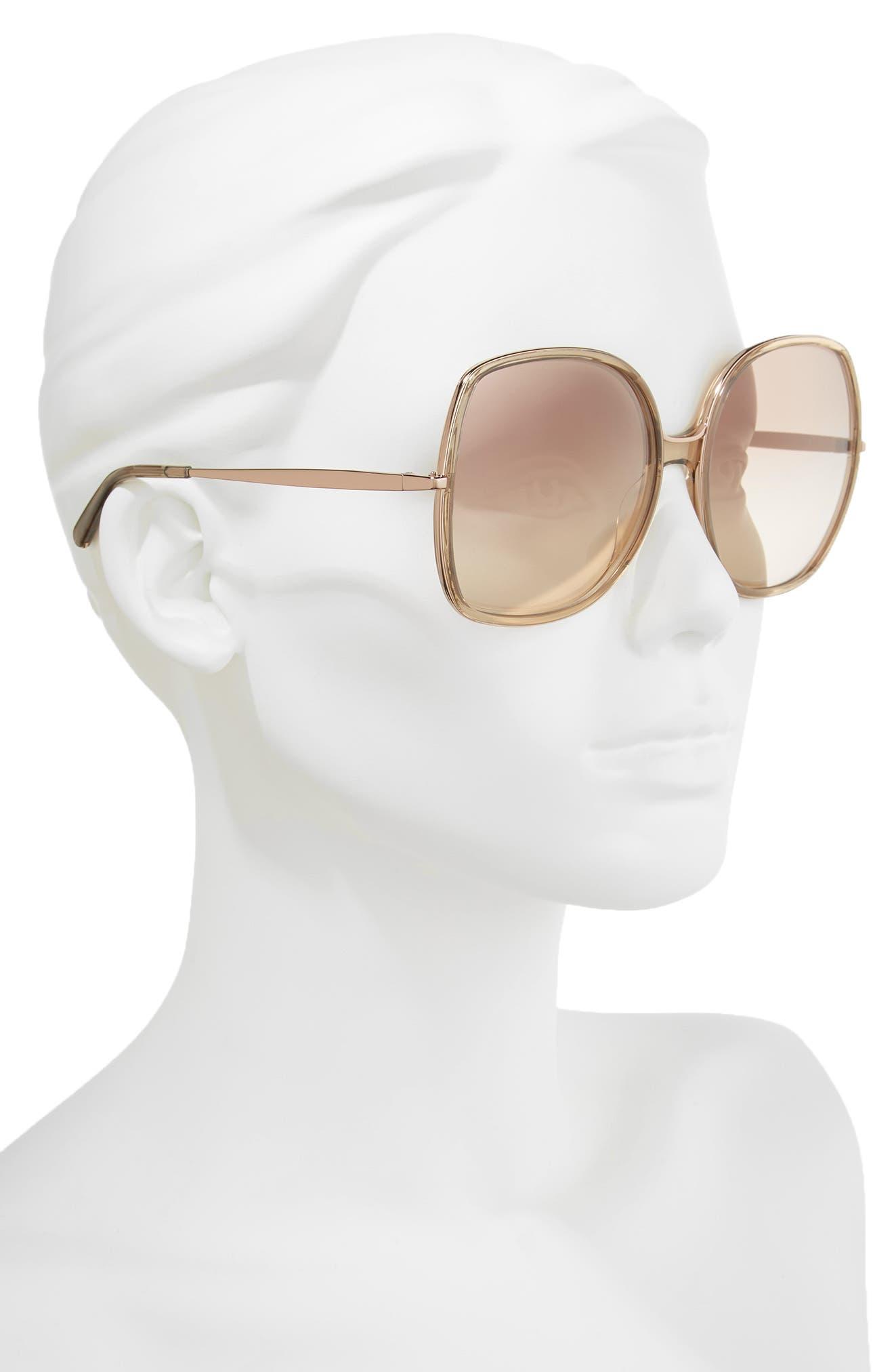 62mm Oversized Gradient Lens Square Sunglasses,                             Alternate thumbnail 2, color,                             Nude