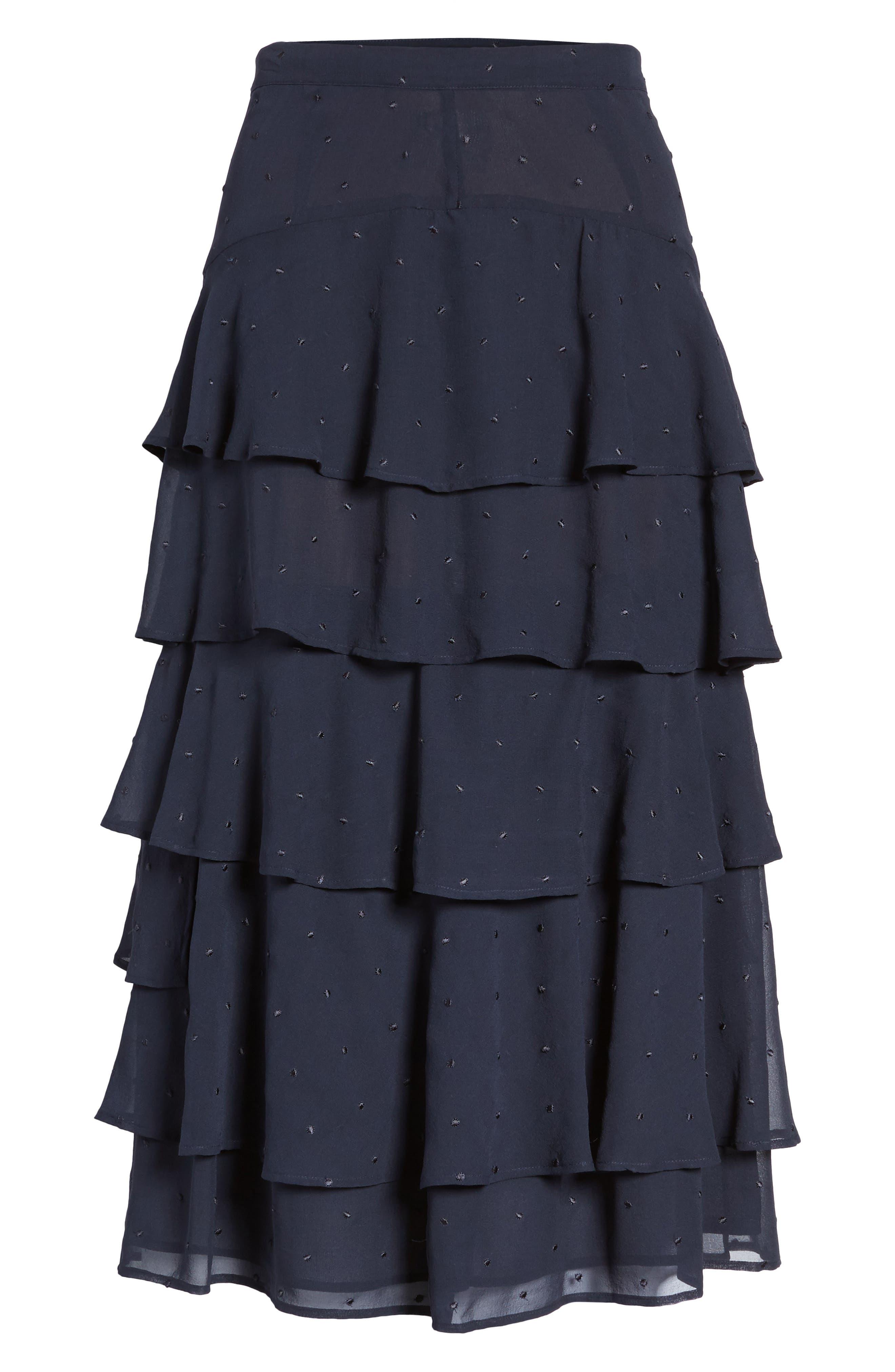 Tiered Silk Chiffon Skirt,                             Alternate thumbnail 6, color,                             Navy Night