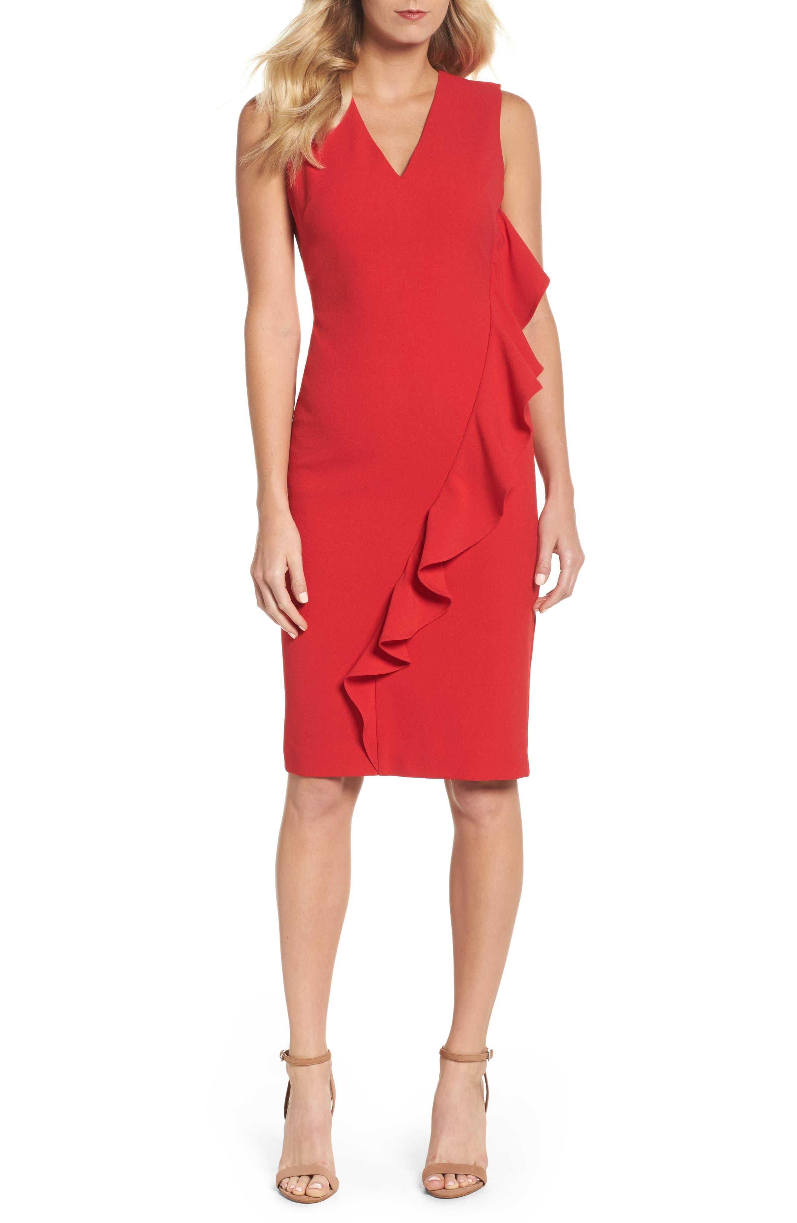 Ruffle Sheath Dress,                         Main,                         color, Red