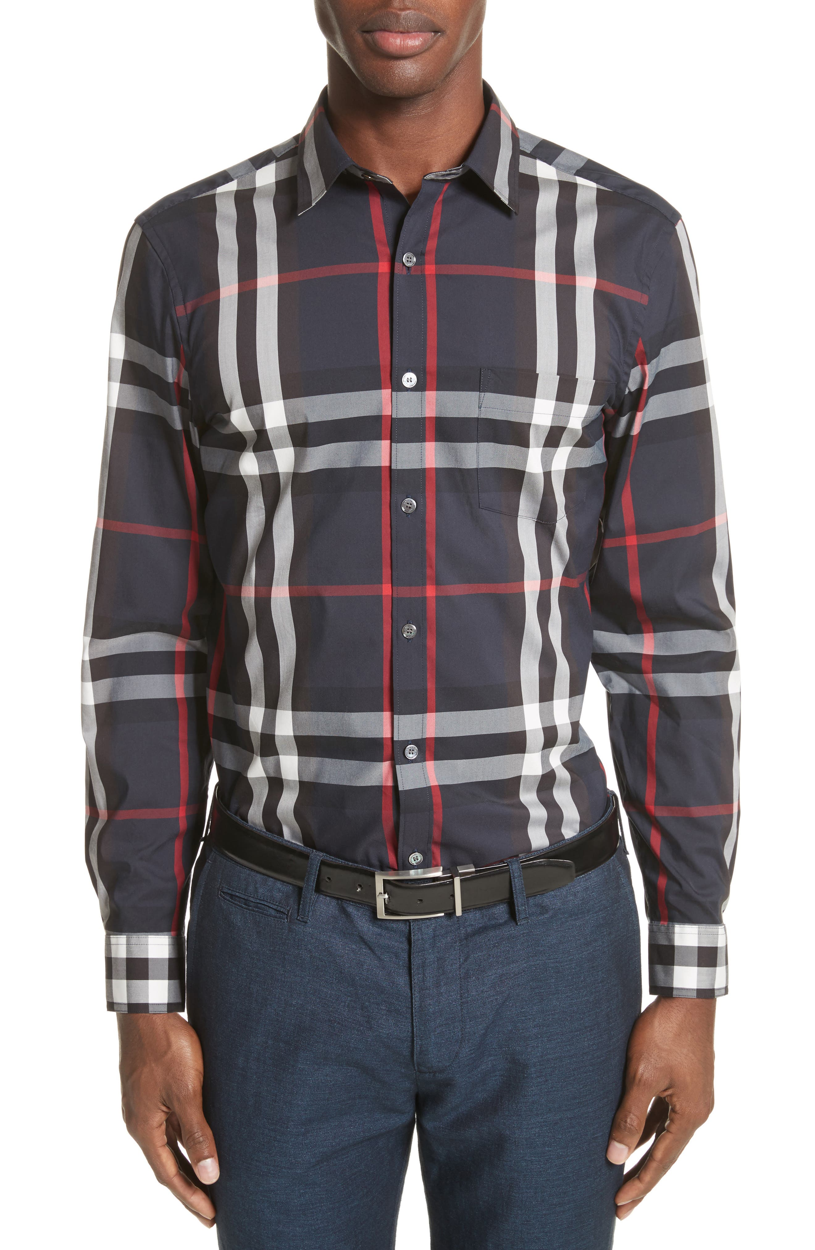 Nelson Check Sport Shirt,                         Main,                         color, Navy