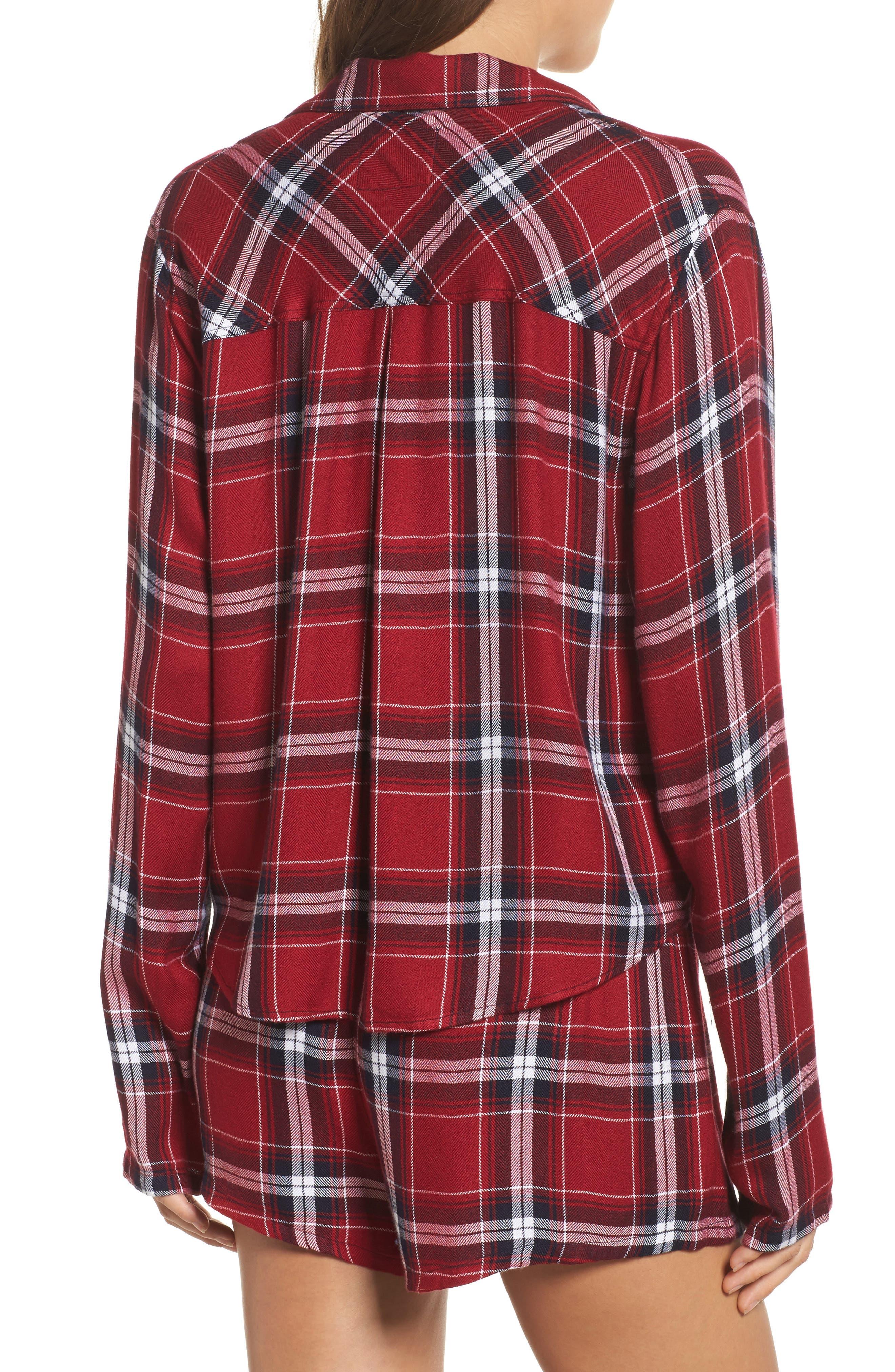 Plaid Short Pajamas,                             Alternate thumbnail 2, color,                             Crimson/ Navy