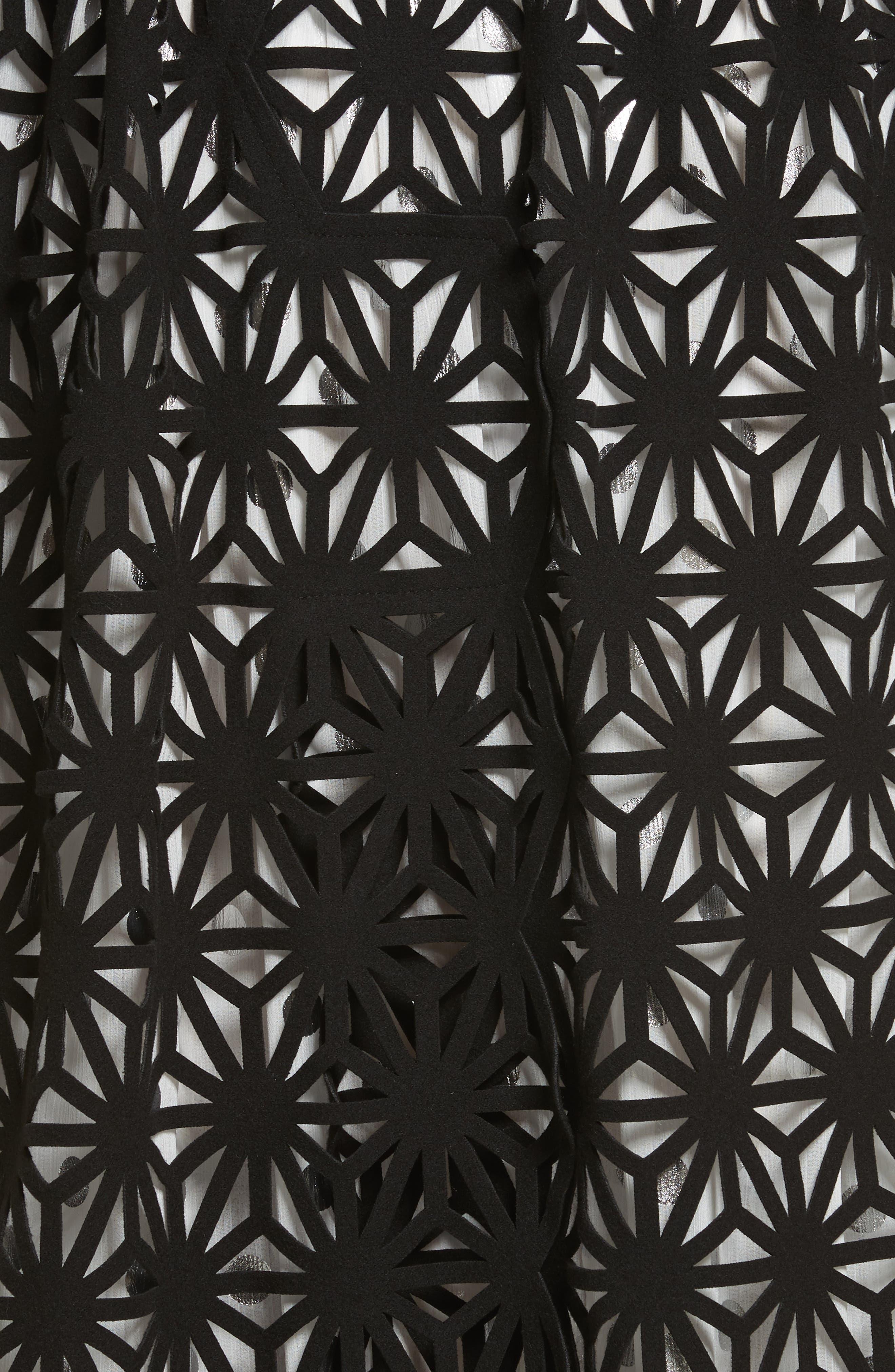 Laser Cut Hooded Coat,                             Alternate thumbnail 4, color,                             Black