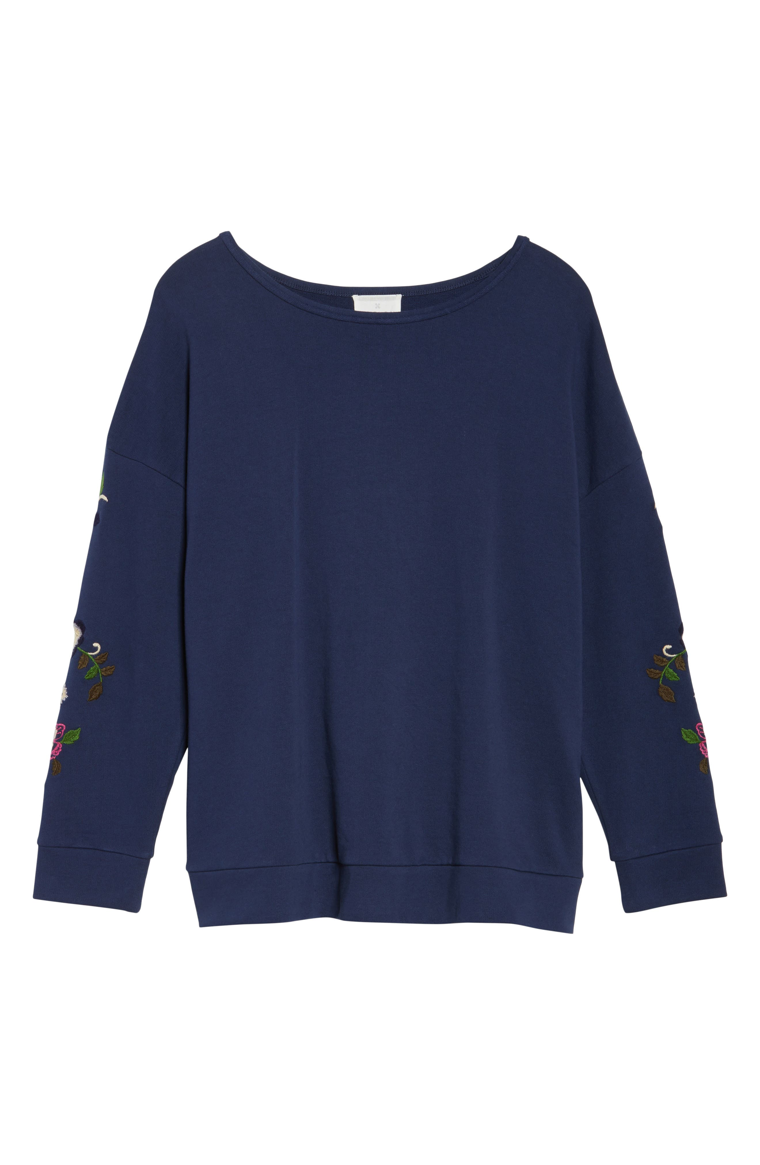 Embroidered Sleeve Sweatshirt,                             Alternate thumbnail 6, color,                             Navy- Rose Floral