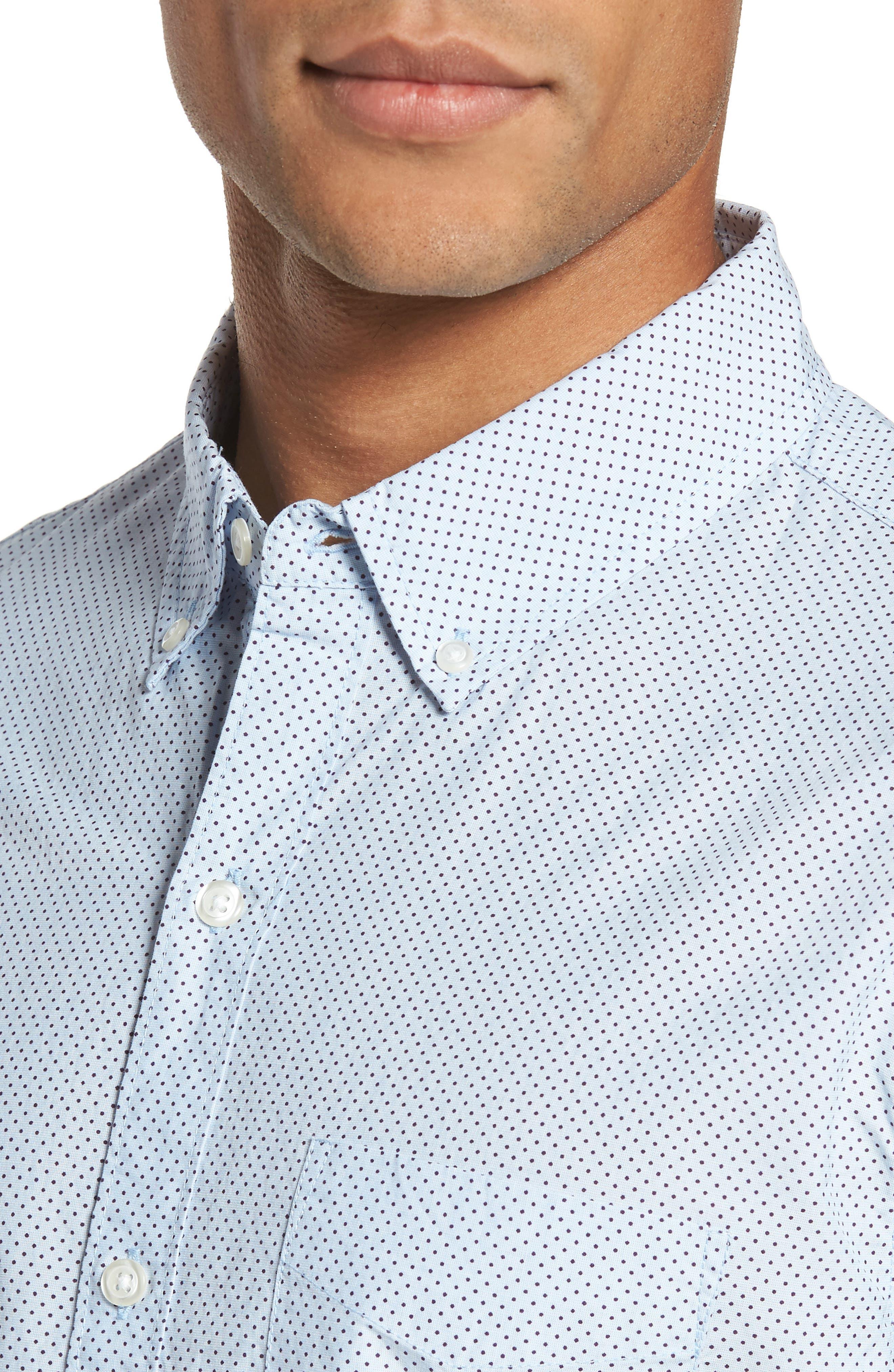 Slim Fit Dot Print Sport Shirt,                             Alternate thumbnail 4, color,                             Cannes Blue Fine Dots