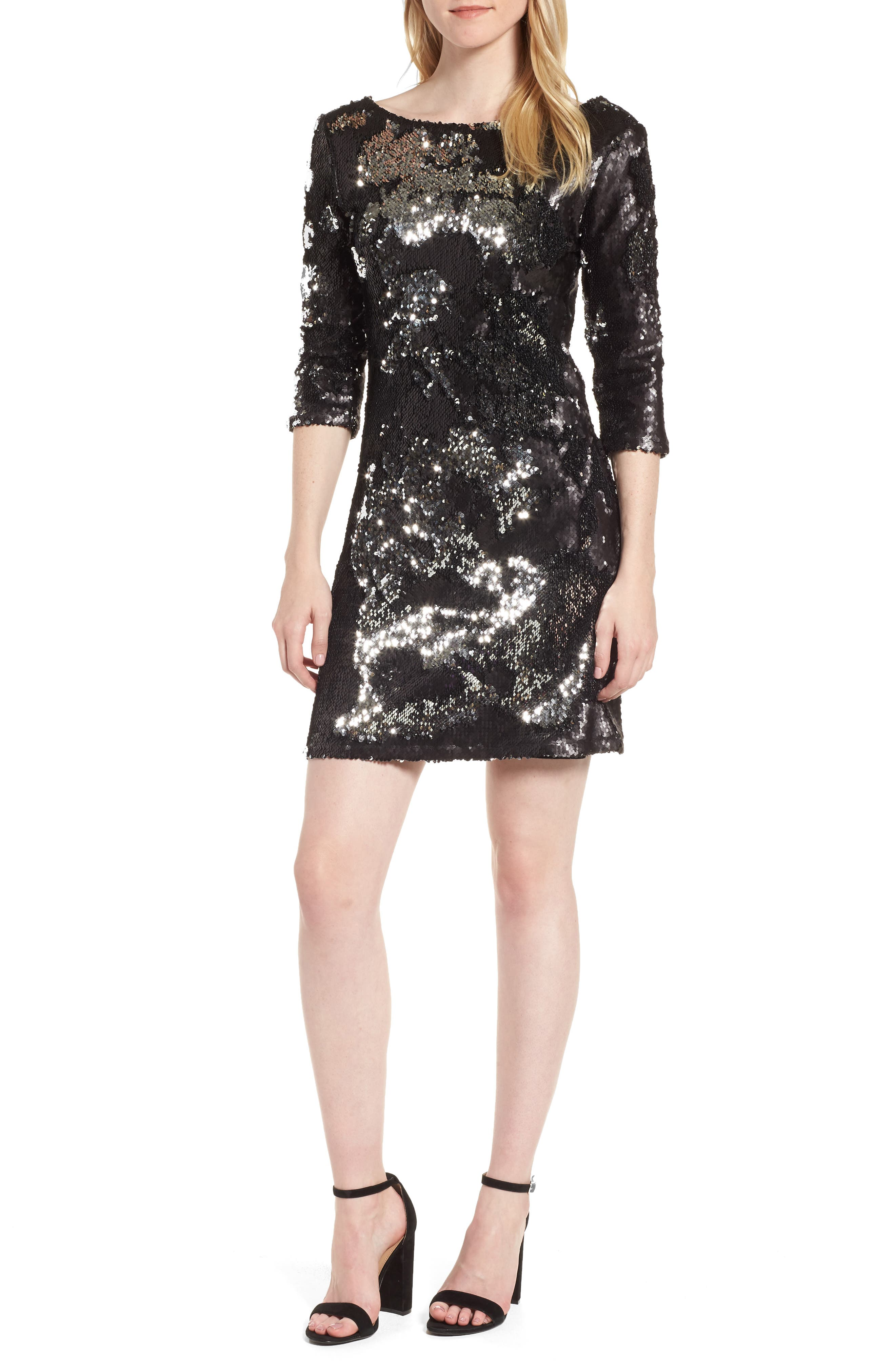 Sequin Minidress,                         Main,                         color, Silver Sequins