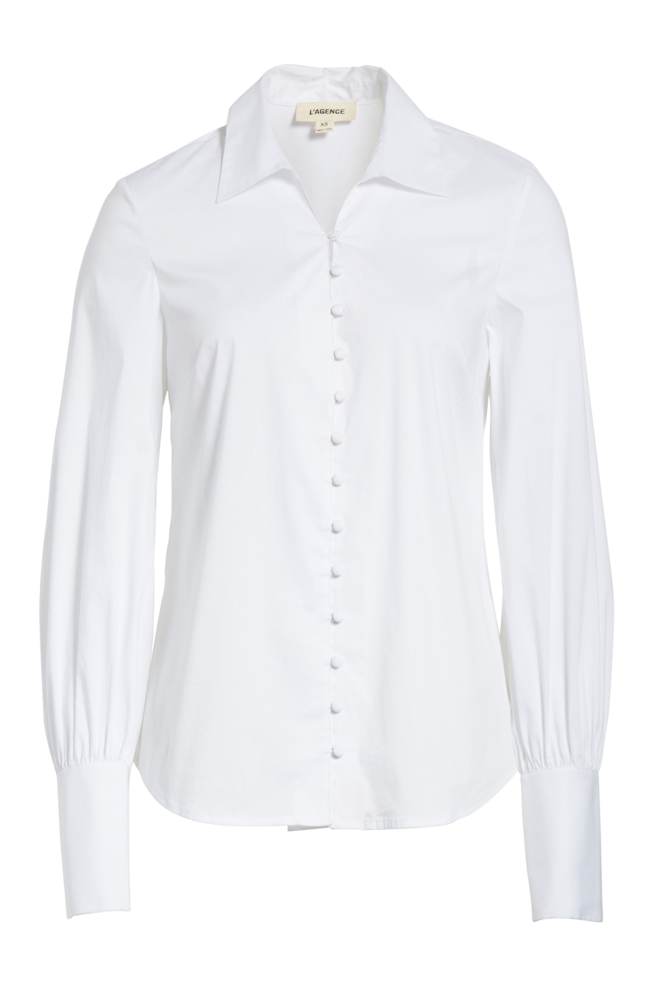 Puff Sleeve Shirt,                             Alternate thumbnail 6, color,                             White