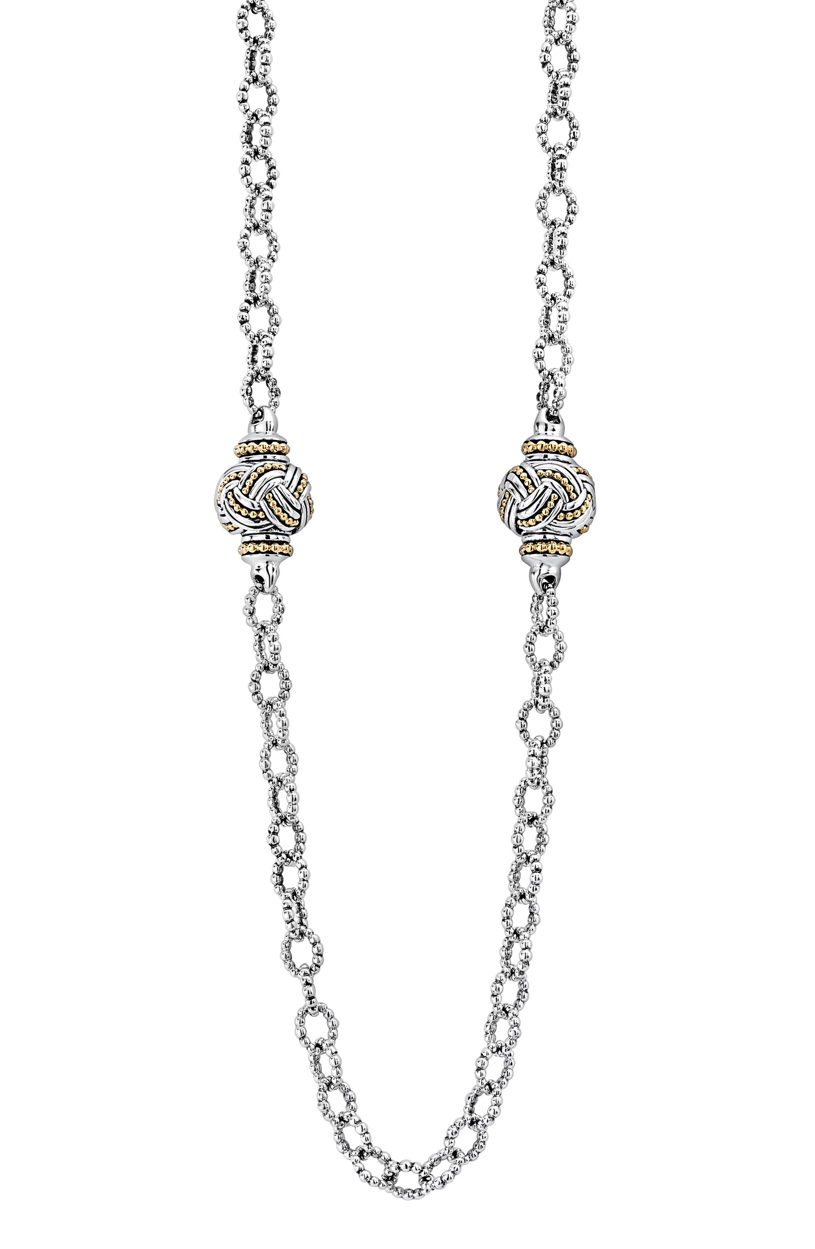 Torsade Long Station Link Necklace,                         Main,                         color, Silver/ Gold