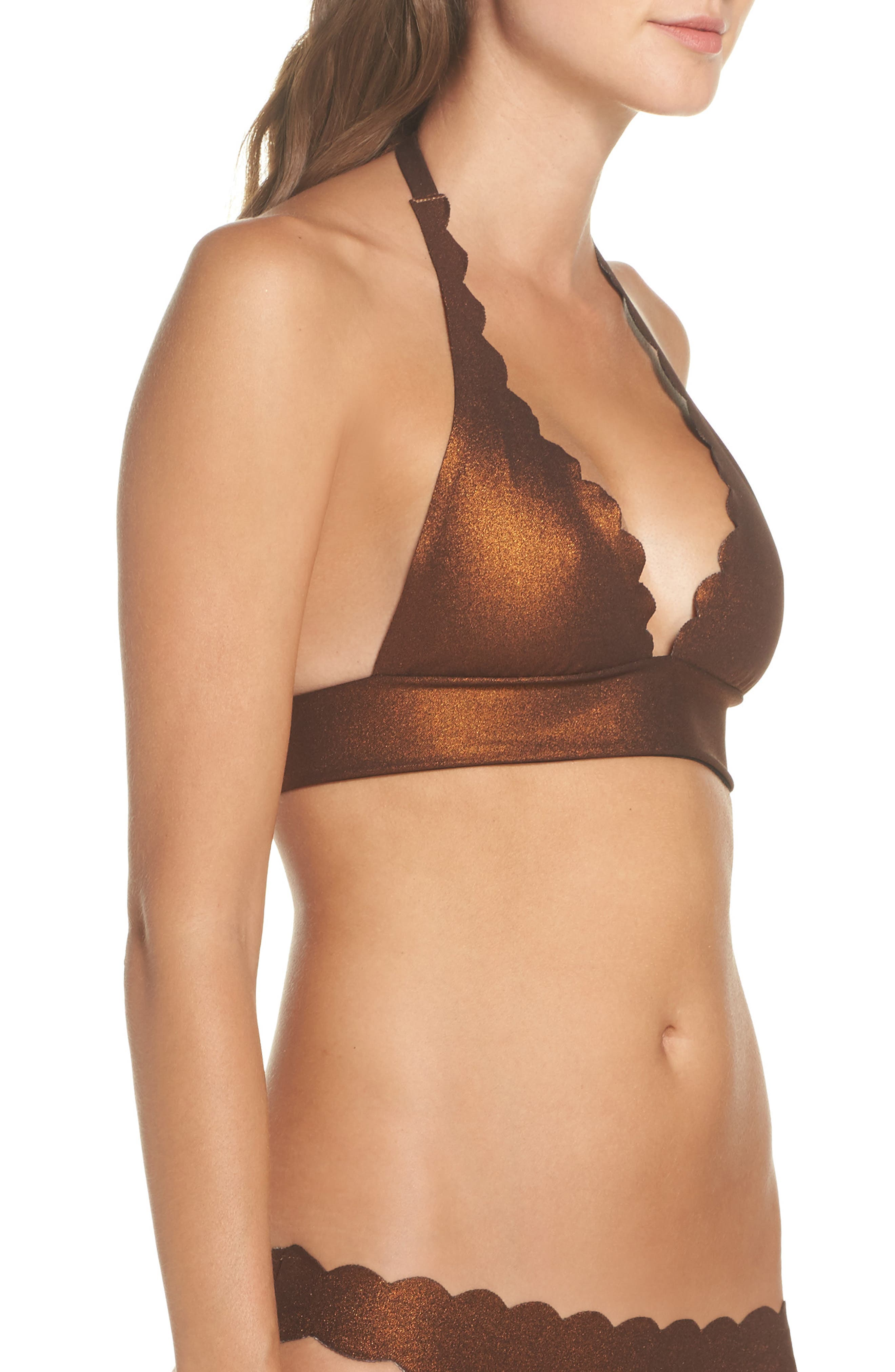 Wave Reversible Seamless Halter Bikini Top,                             Alternate thumbnail 5, color,                             Copper