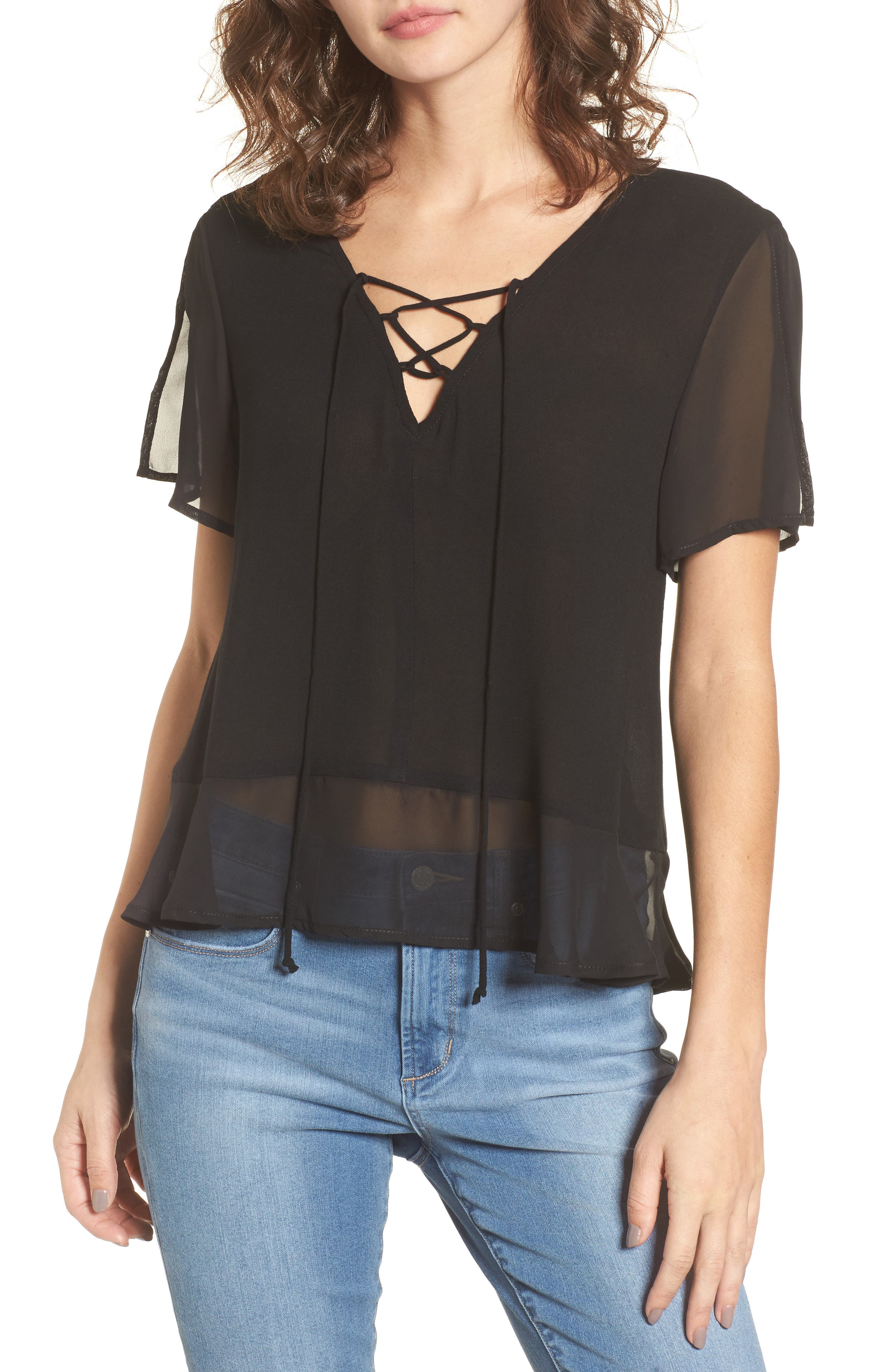 Mimi Chica Lace-Up Mini Peplum Tee
