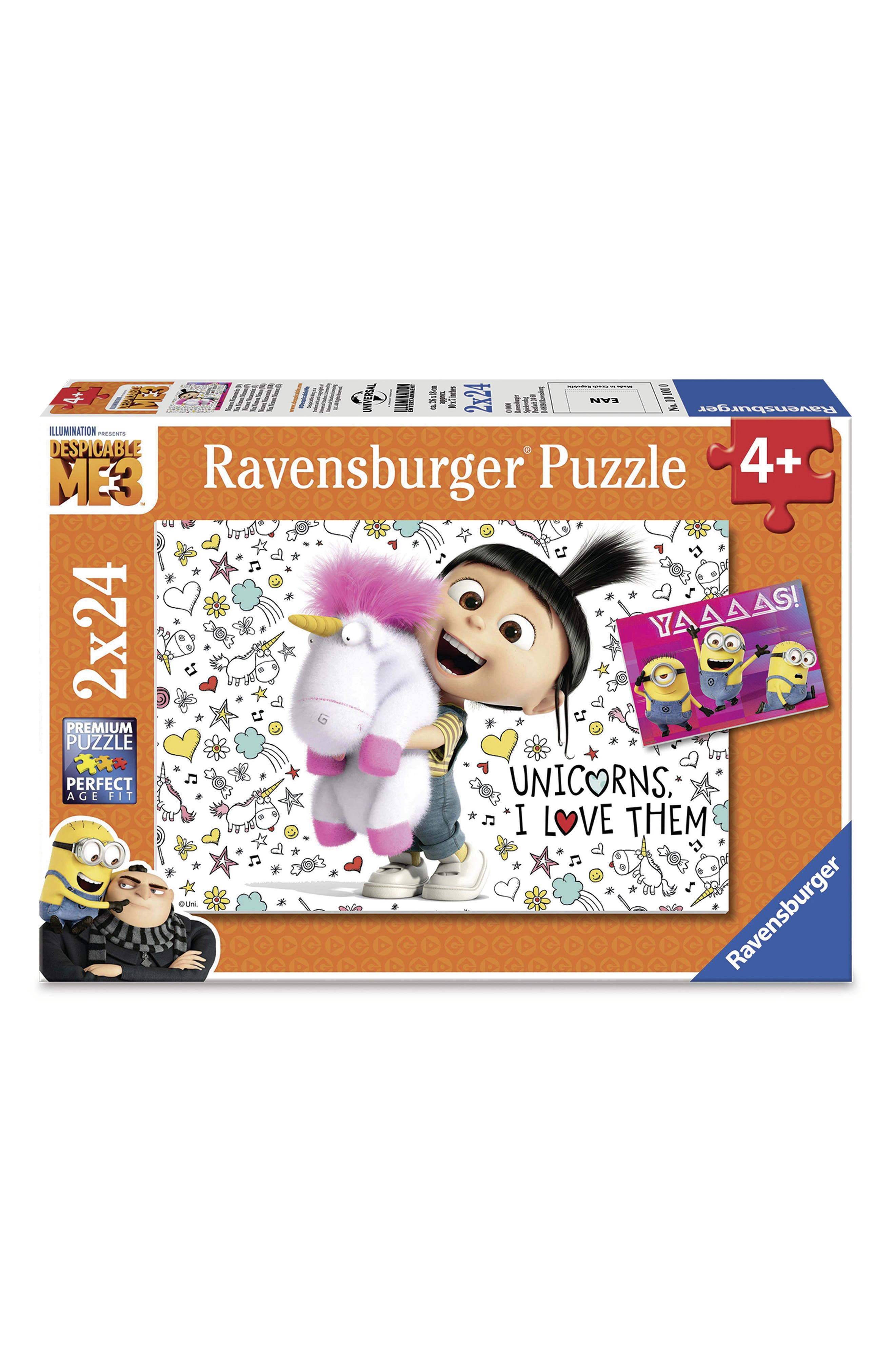 'Despicable Me 3' Set of 2 24-Piece Jigsaw Puzzles,                         Main,                         color, Yellow