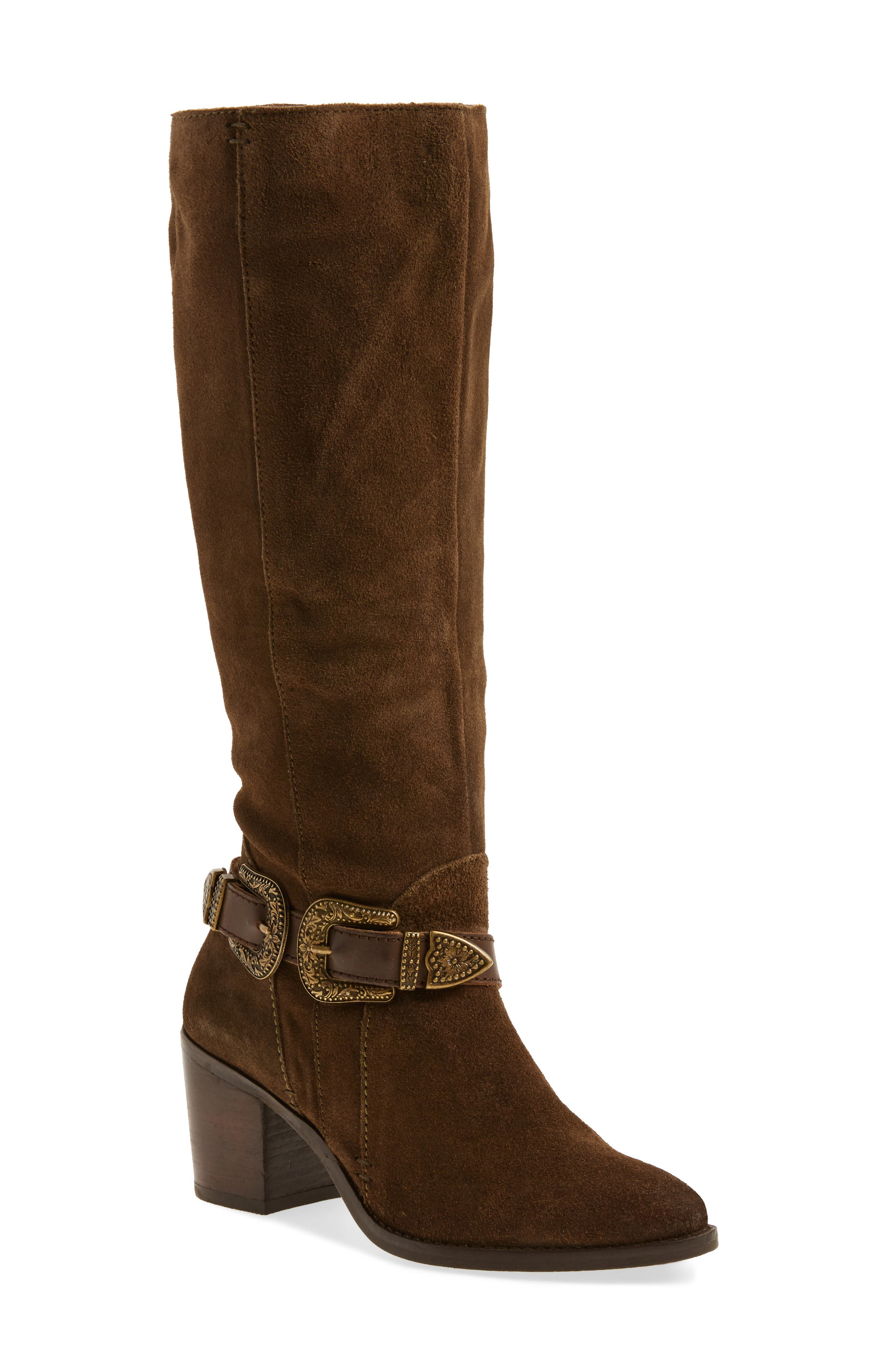 Natasha Tall Boot,                         Main,                         color, Dark Olive Suede