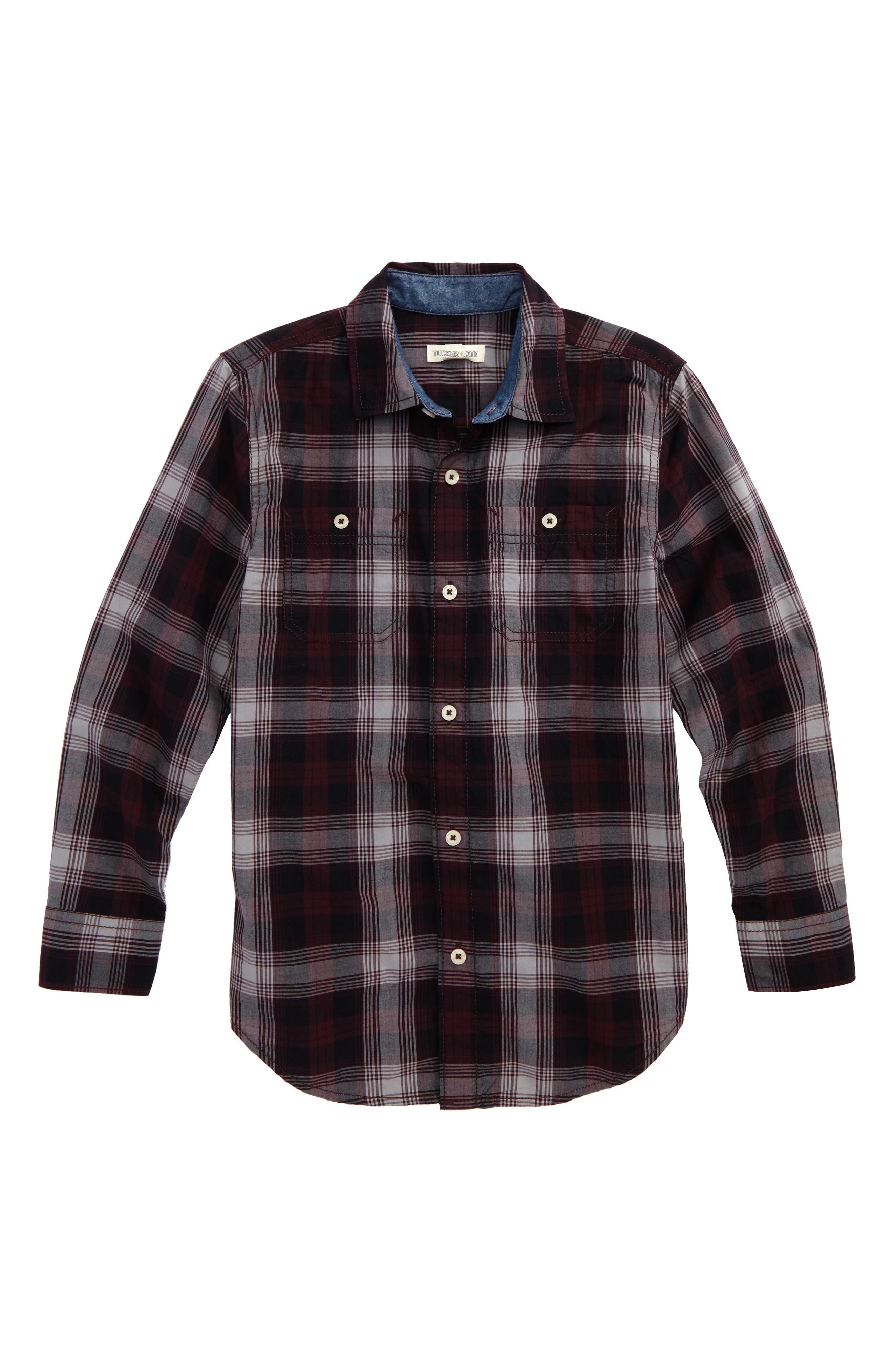 Tucker + Tate 'Photo Op' Long Sleeve Cotton Woven Shirt (Big Boys)