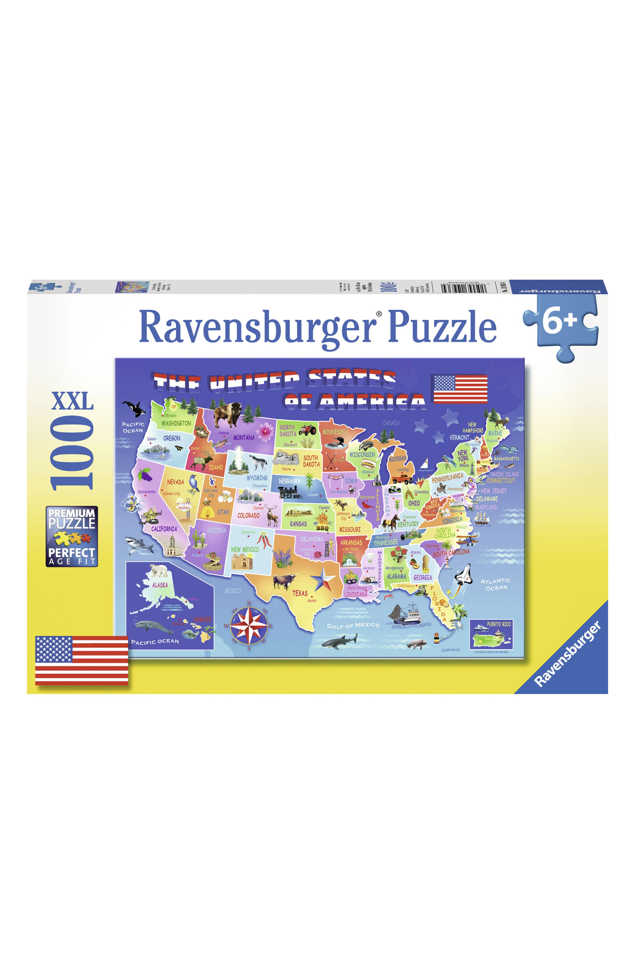 USA State Map 100-Piece Puzzle,                             Main thumbnail 1, color,                             Blue