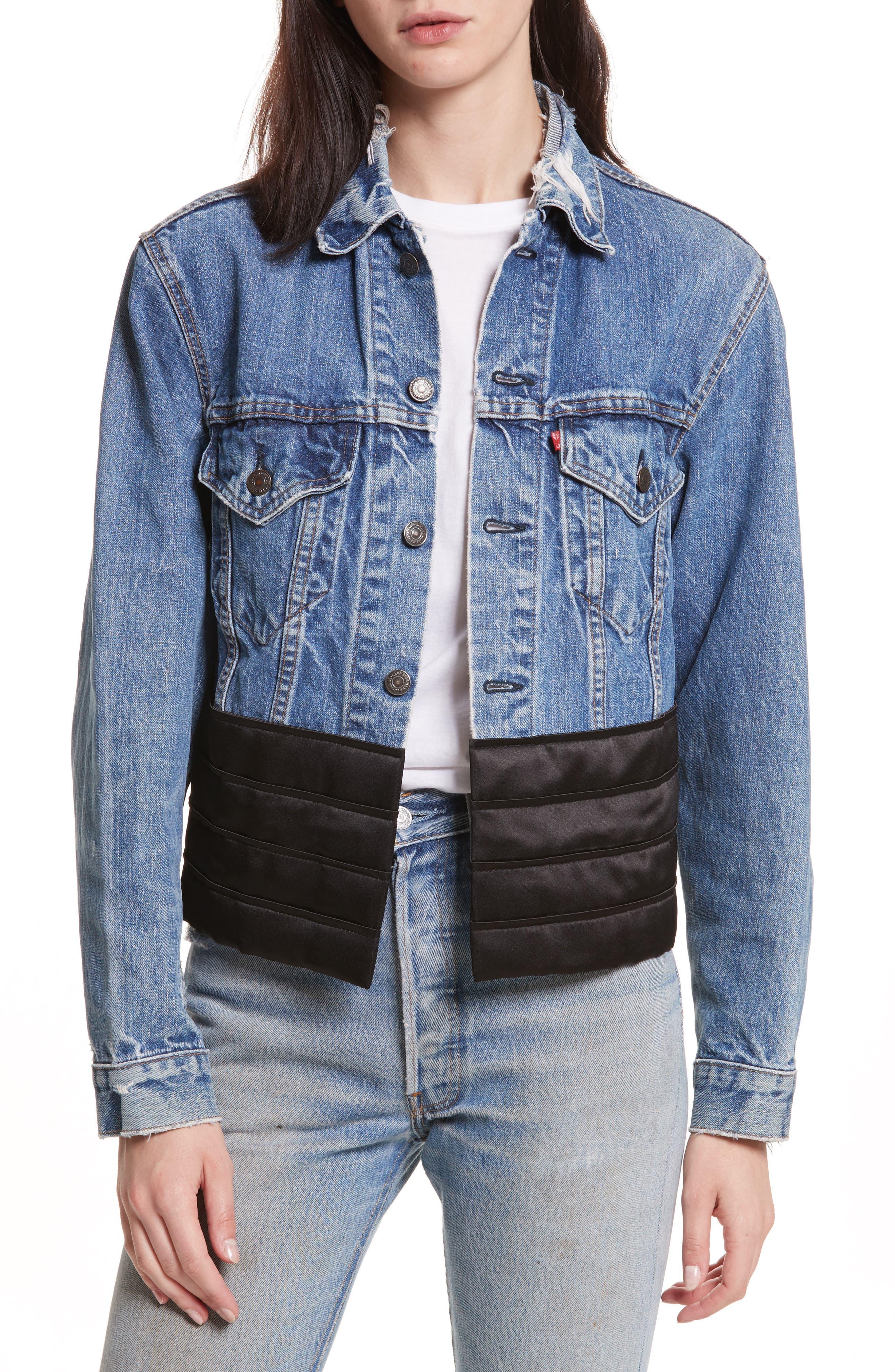 Satin Cummerbund Denim Jacket,                         Main,                         color, Denim