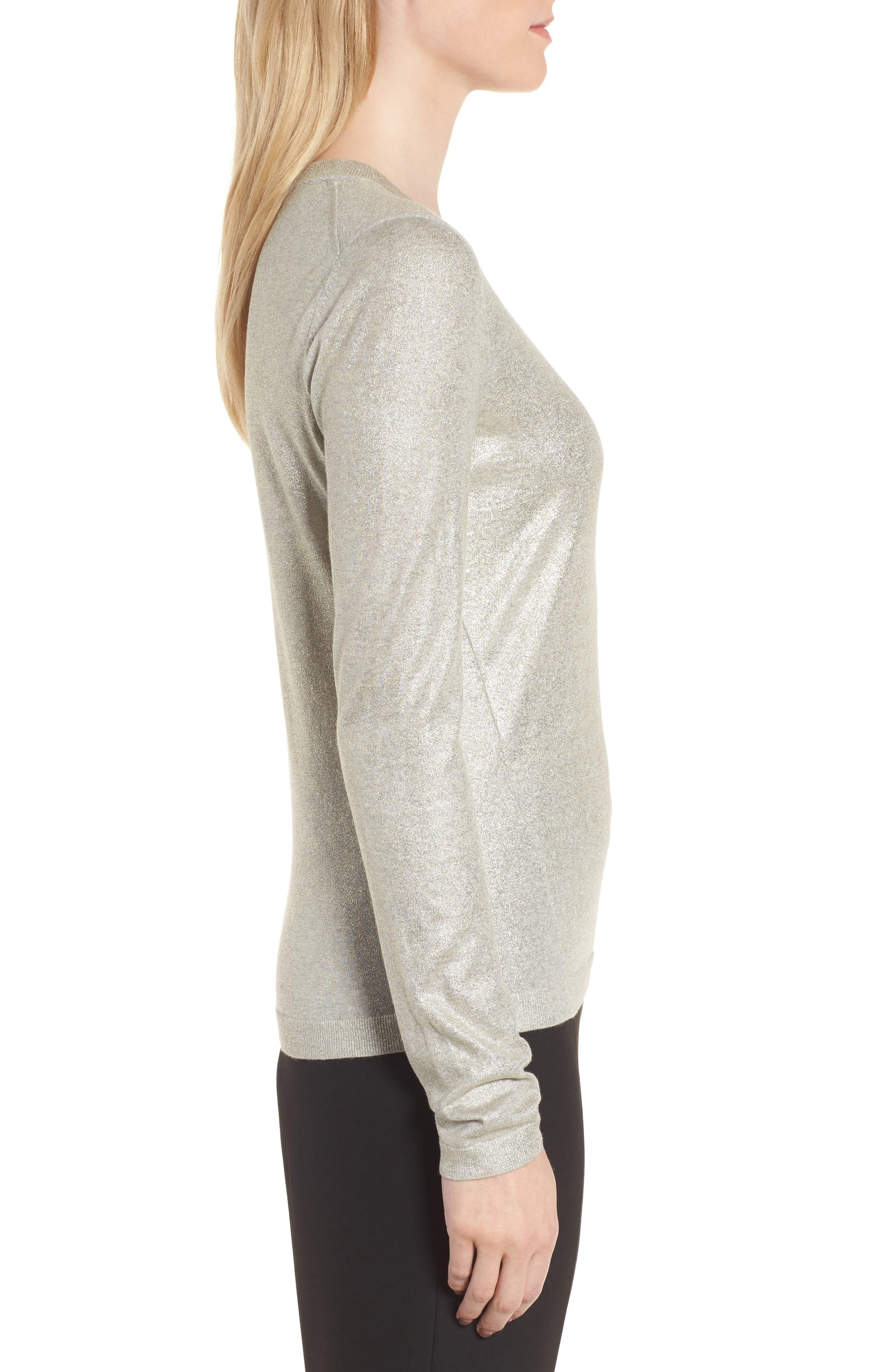 Fadine Wool Crewneck Sweater,                             Alternate thumbnail 3, color,                             Cozy Grey Melange