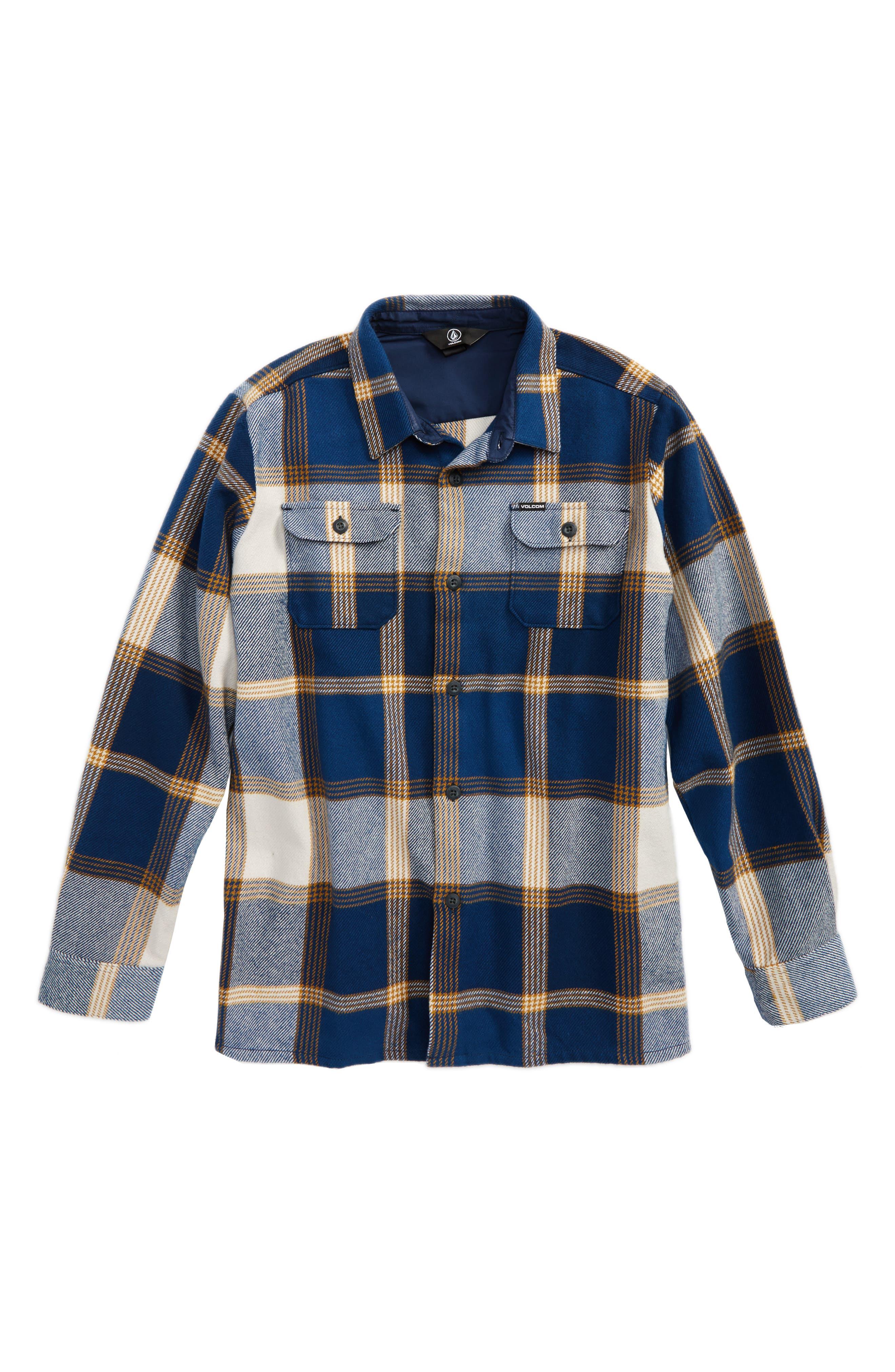 Main Image - Volcom Heavy Daze Plaid Flannel Shirt Jacket (Big Boys)