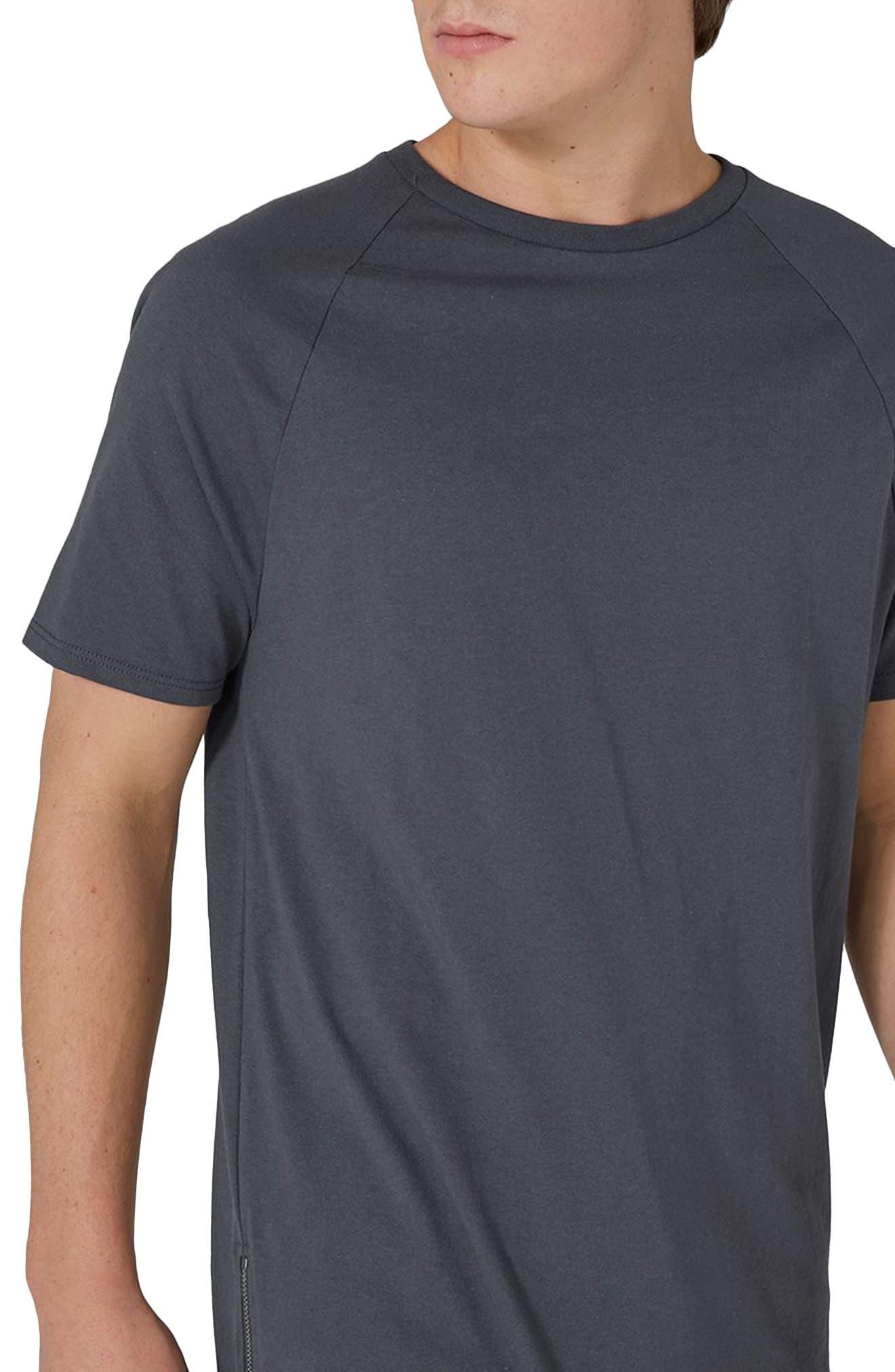 Side Zip Longline T-Shirt,                             Alternate thumbnail 3, color,                             Grey