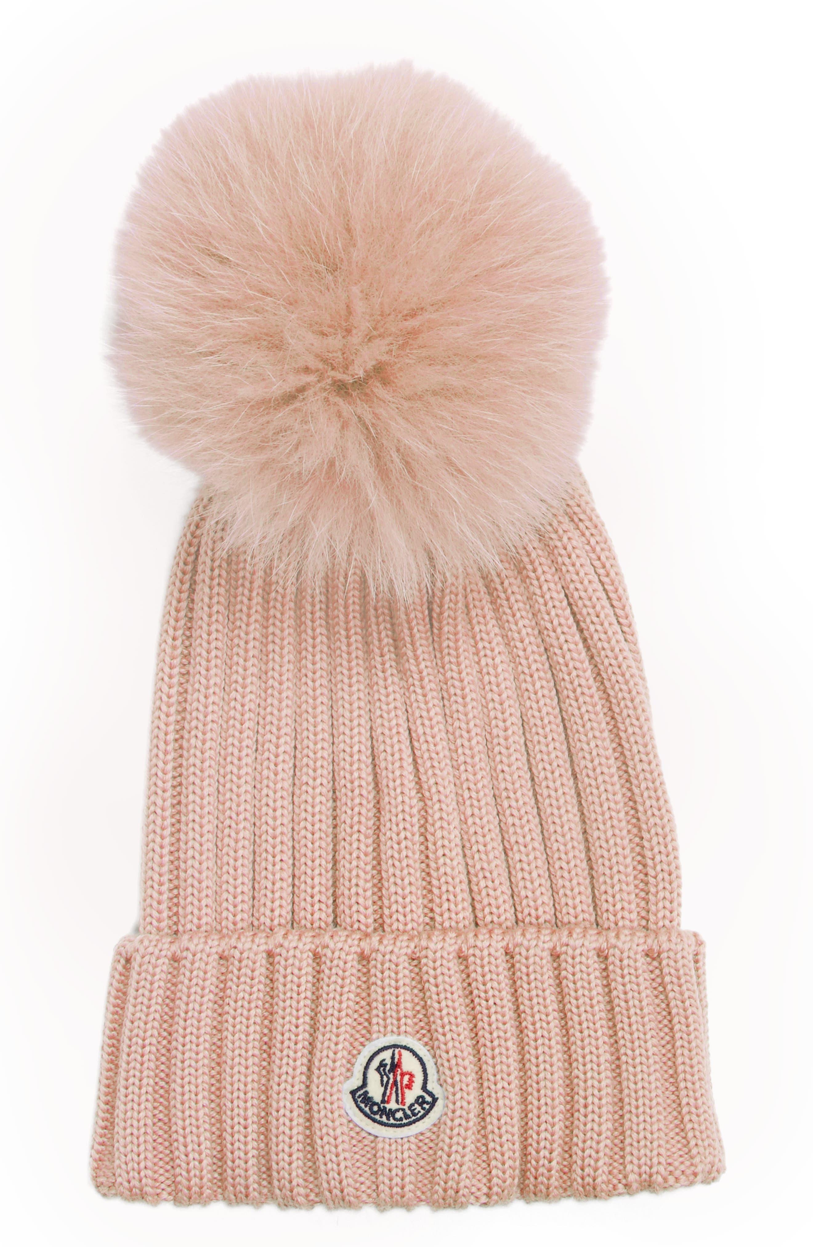 Moncer Genuine Fox Fur Pom Wool Beanie
