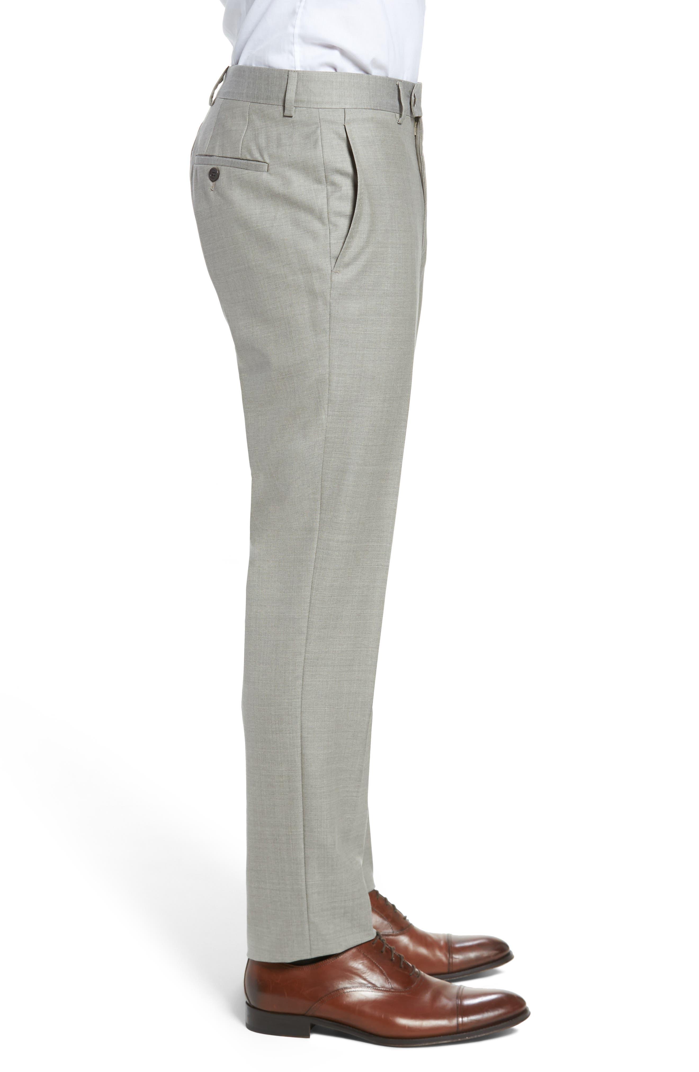 Peter Millar Multi Season Super 150s Wool Flat Front Trousers,                             Alternate thumbnail 3, color,                             Sabbia