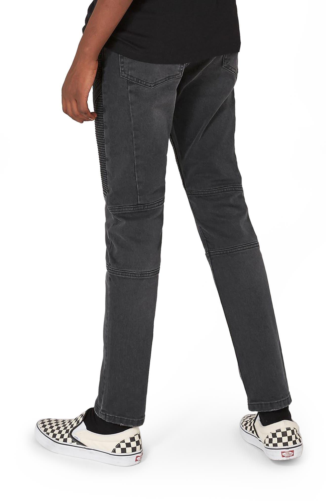 Biker Stretch Skinny Jeans,                             Alternate thumbnail 2, color,                             Dark Grey