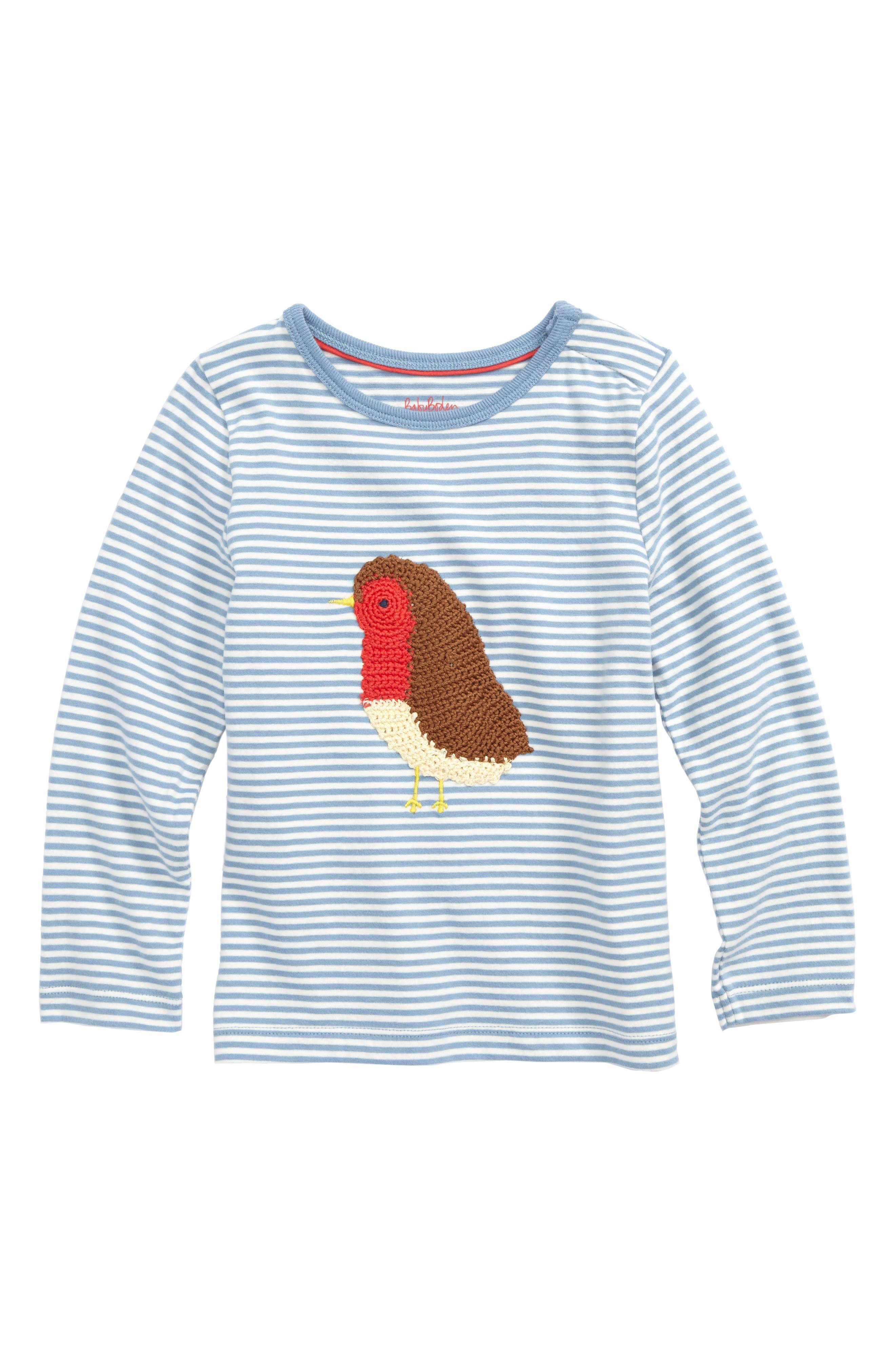 Alternate Image 1 Selected - Mini Boden Crochet Bird Stripe T-Shirt (Baby & Toddler)