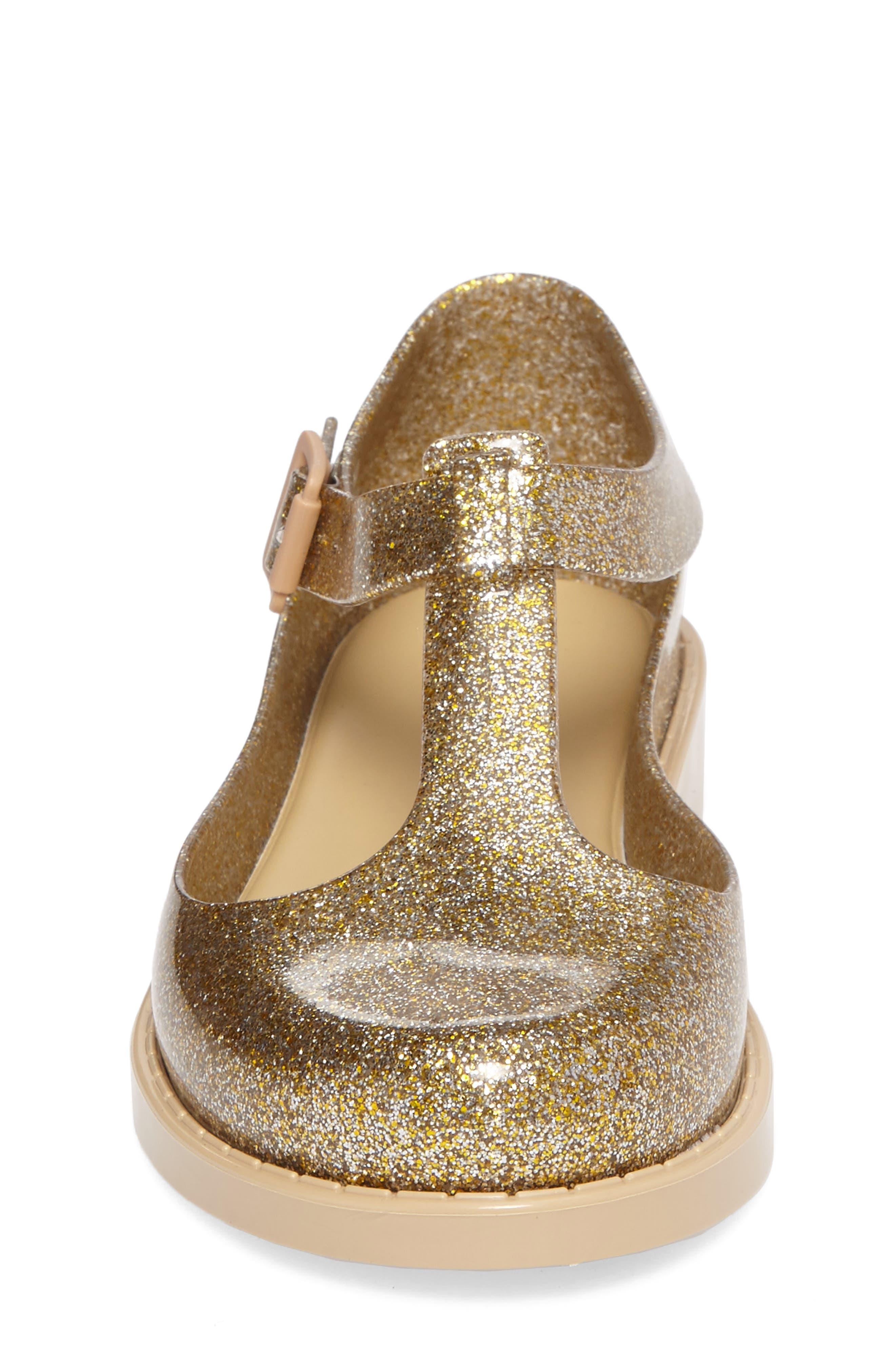 Kazakova T-Strap Flat,                             Alternate thumbnail 4, color,                             Gold Glass Glitter