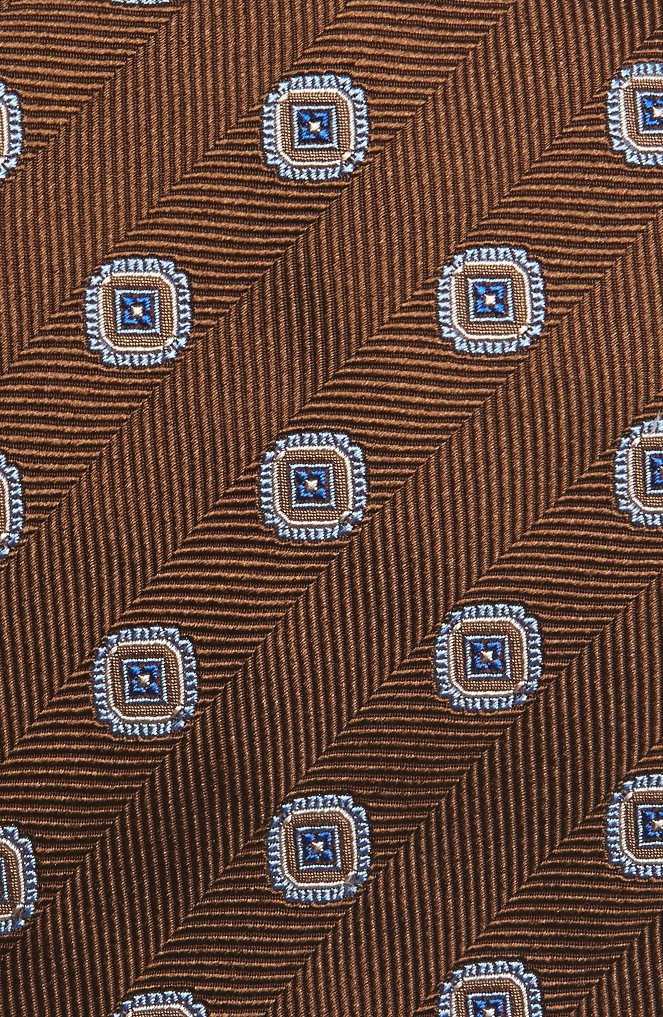 Medallion Silk Tie,                             Alternate thumbnail 2, color,                             Chocolate