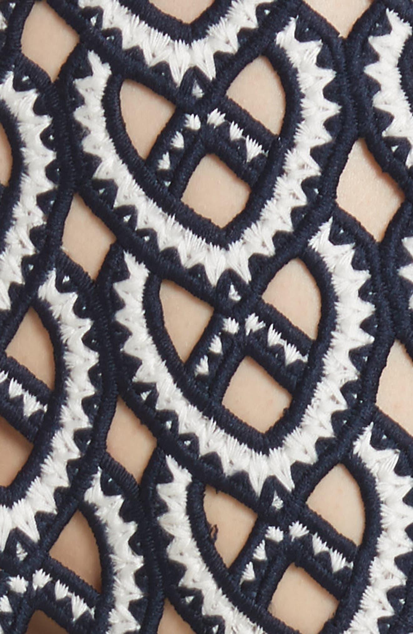 Alternate Image 5  - Self-Portrait Sweetheart Crochet Pleated Midi Dress