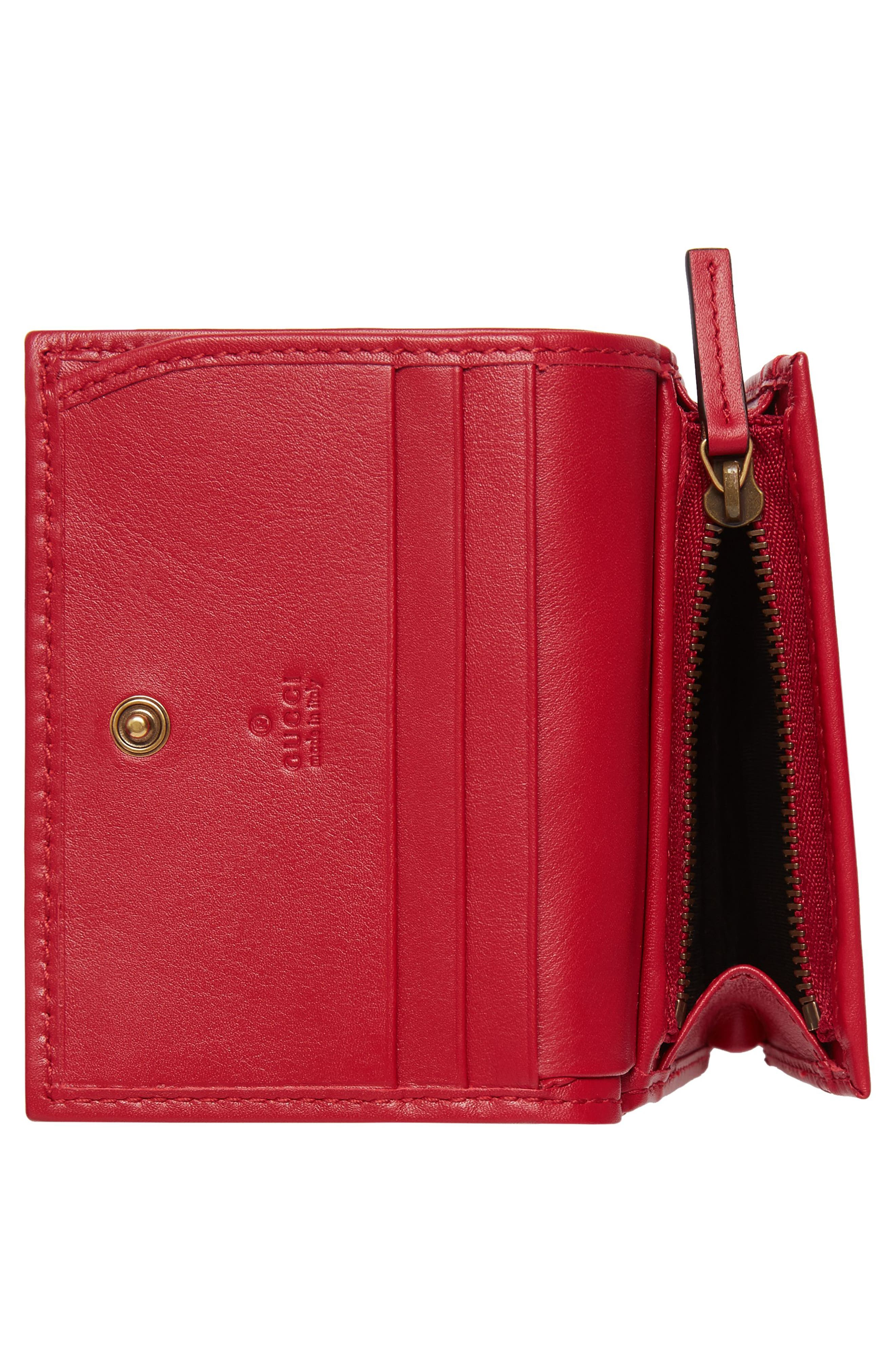 GG Marmont Matelassé Leather Card Case,                             Alternate thumbnail 3, color,                             Hibiscus Red
