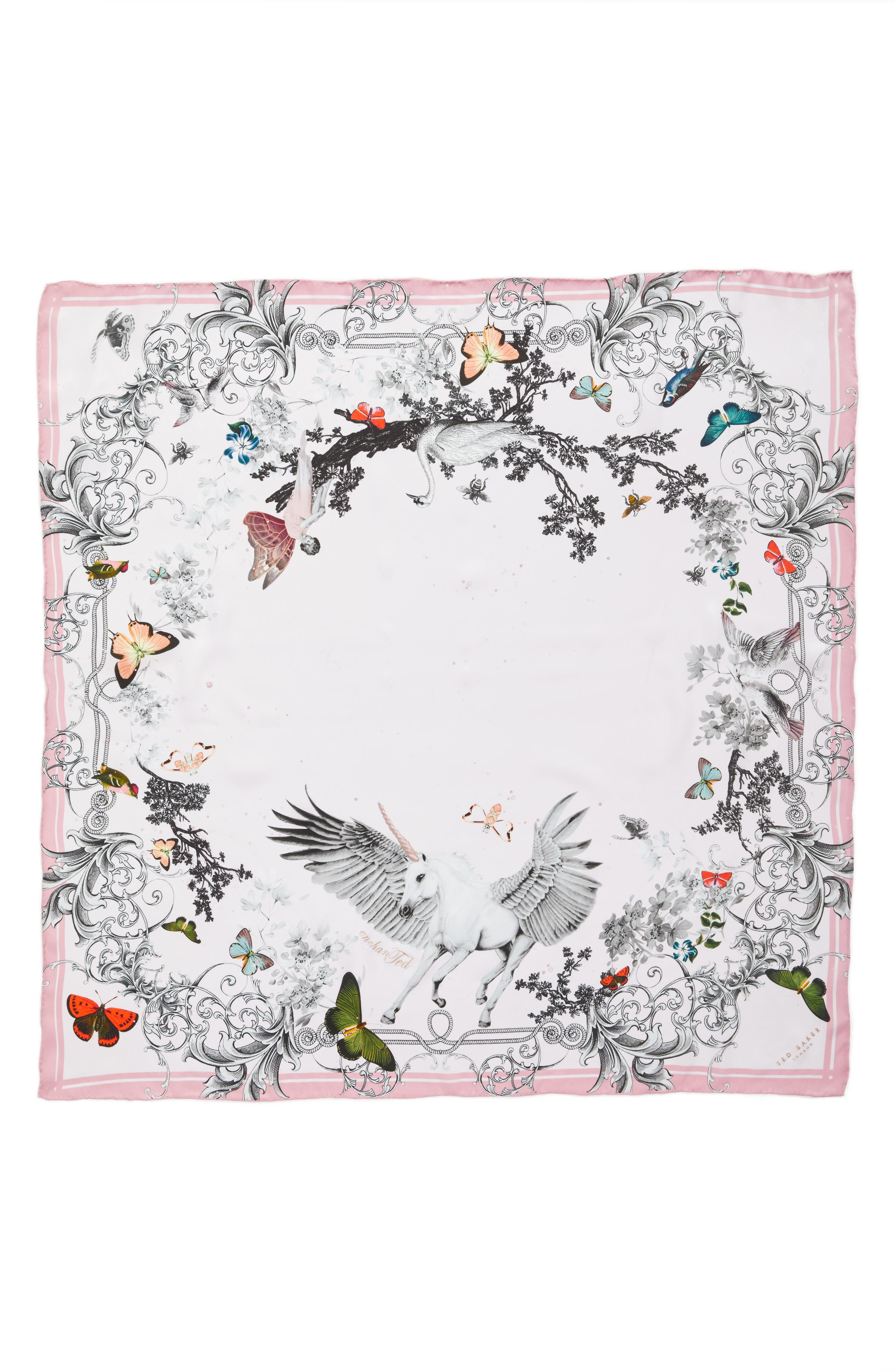 Enchanted Dream Silk Square Scarf,                             Alternate thumbnail 3, color,                             59-Pale Pink