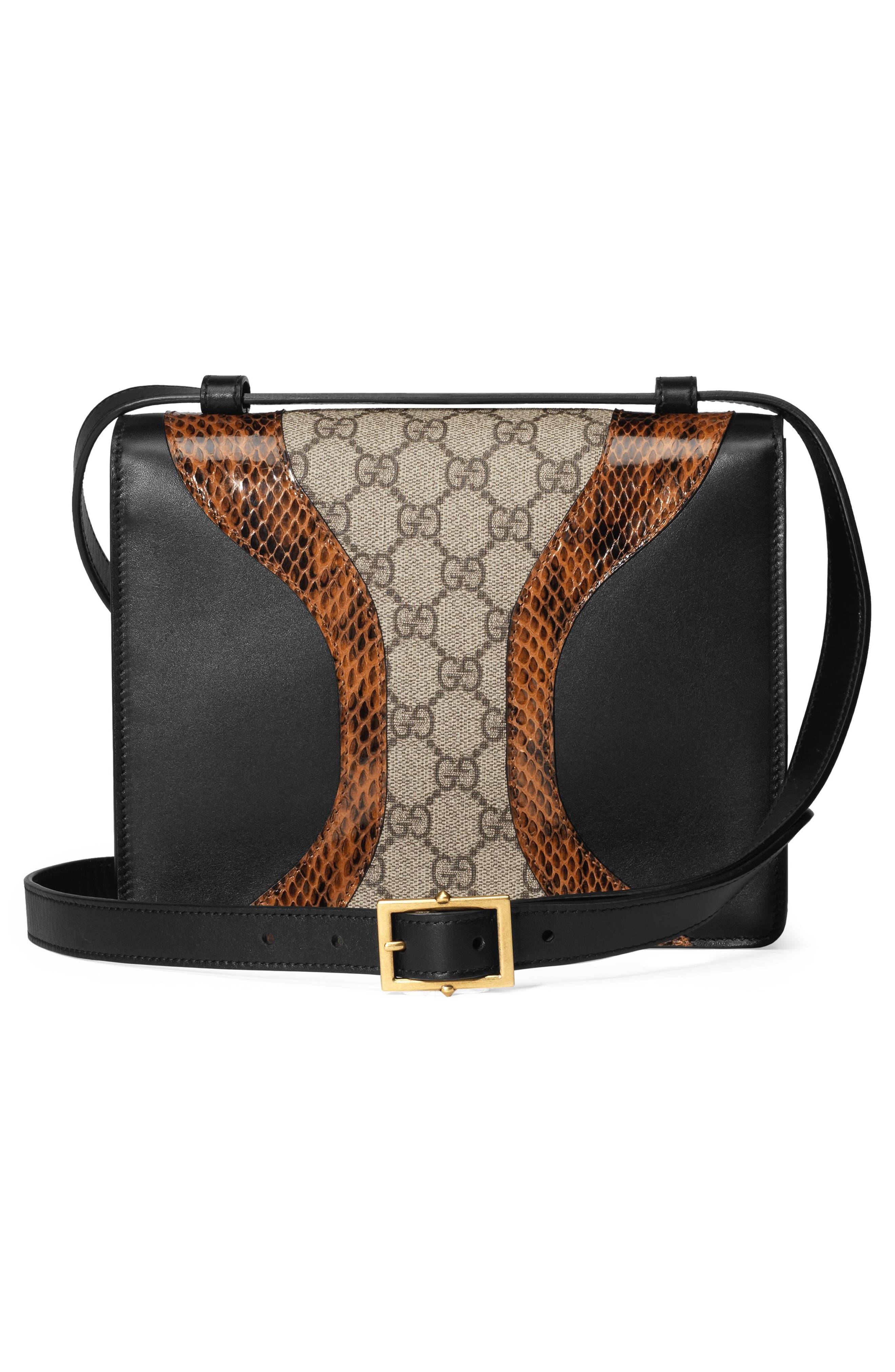Osiride Genuine Snakeskin & GG Supreme Shoulder Bag,                             Alternate thumbnail 2, color,                             Nero/ Cuir/ Beige Ebony/ Ruby