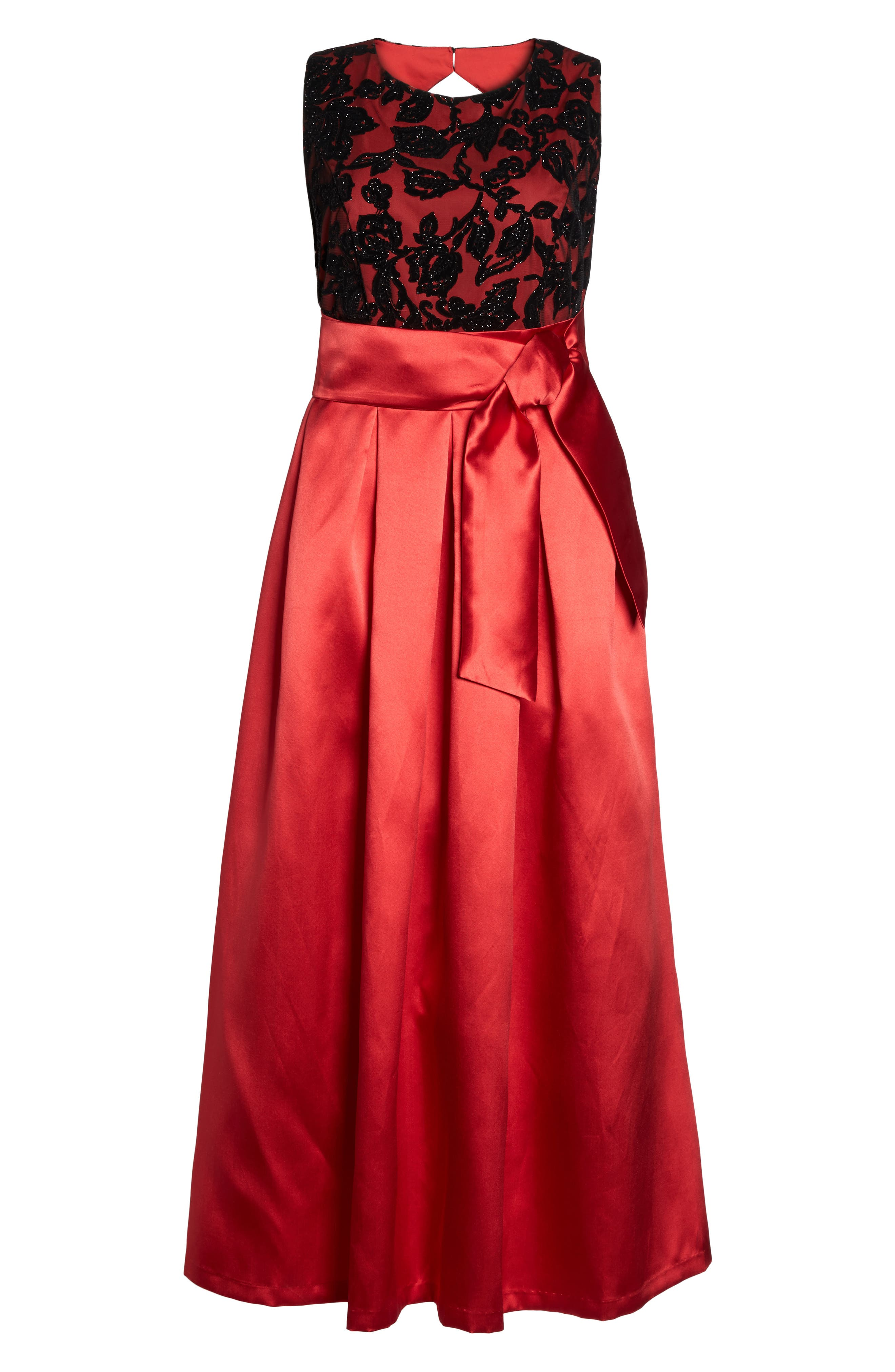 Sleeveless Lace & Satin Ballgown,                             Alternate thumbnail 6, color,                             Red