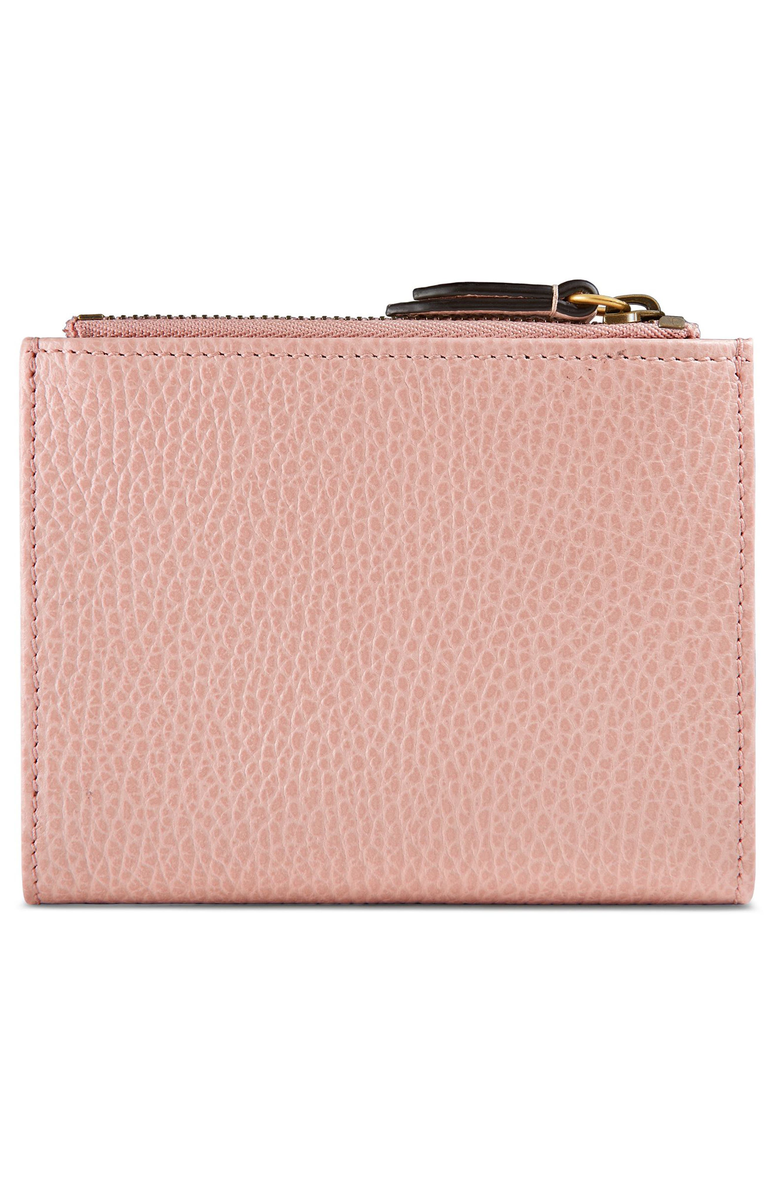 Farfalla Leather Wallet,                             Alternate thumbnail 3, color,                             Perfect Pink/ Crystal