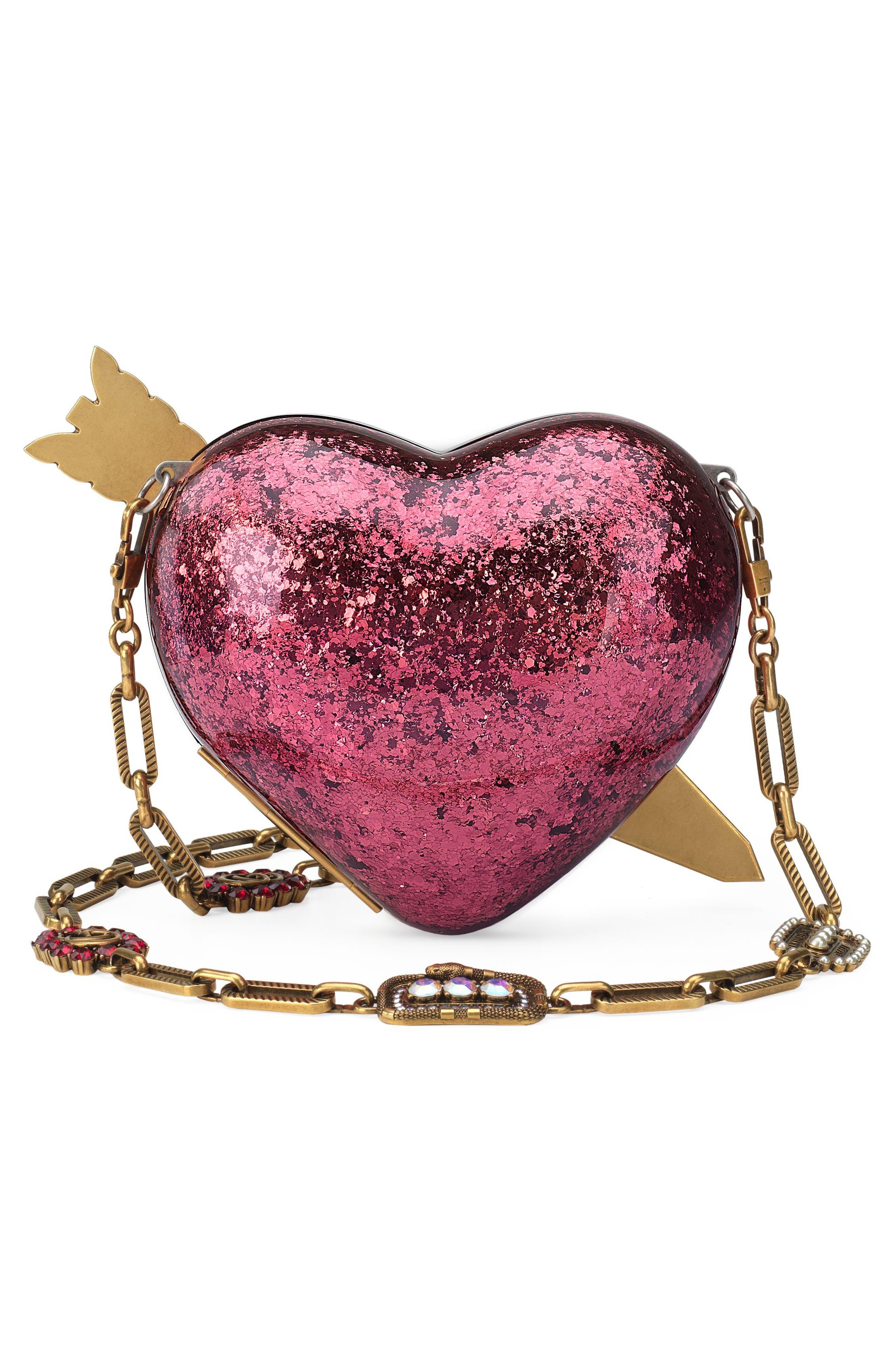 Broadway Glitter Heart Minaudière,                             Alternate thumbnail 2, color,                             Fuxia Multi/ Cream